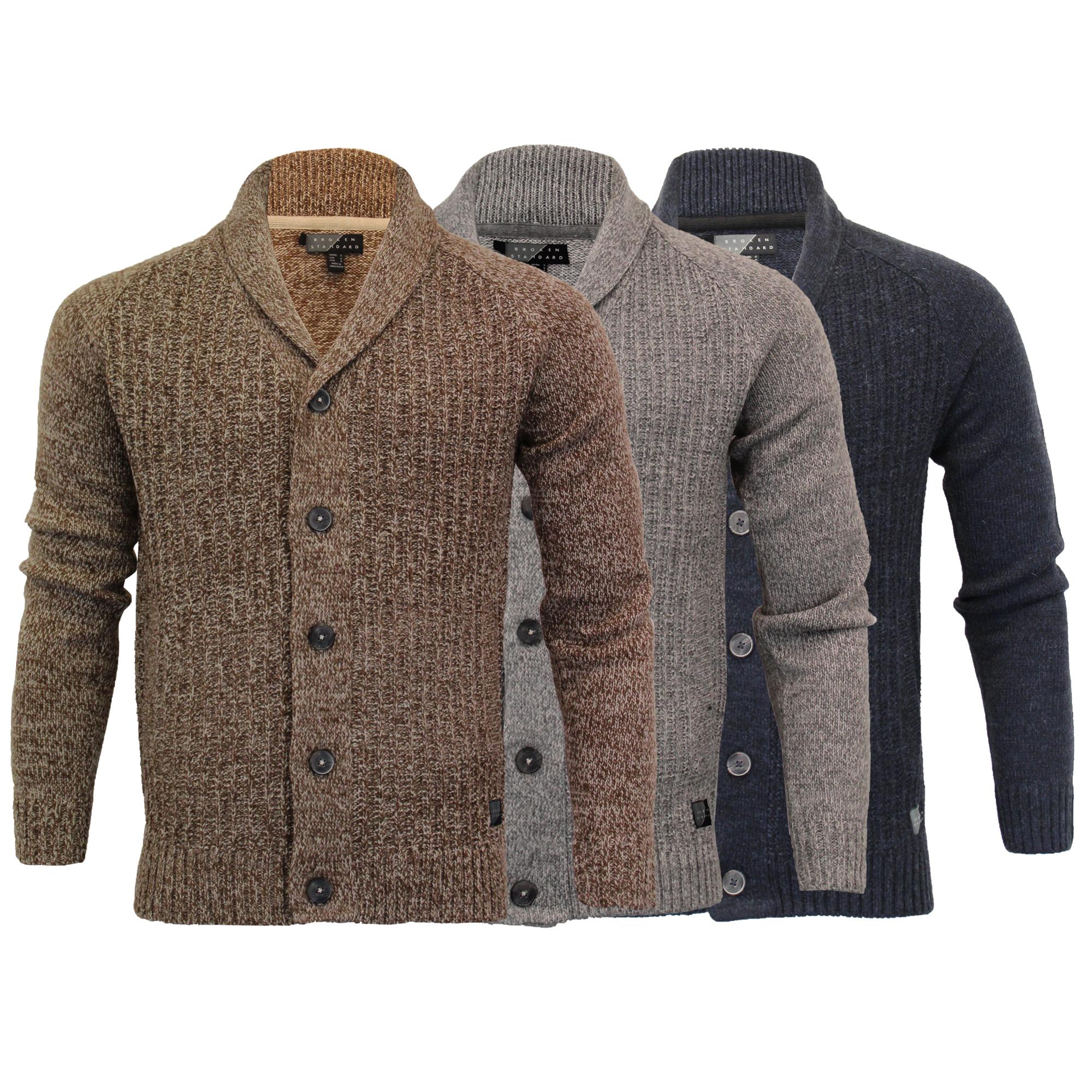 Mens-Wool-Mix-Cardigans-Threadbare-Knitted-Sweater-Broken-Standard-Shawl-Winter thumbnail 4
