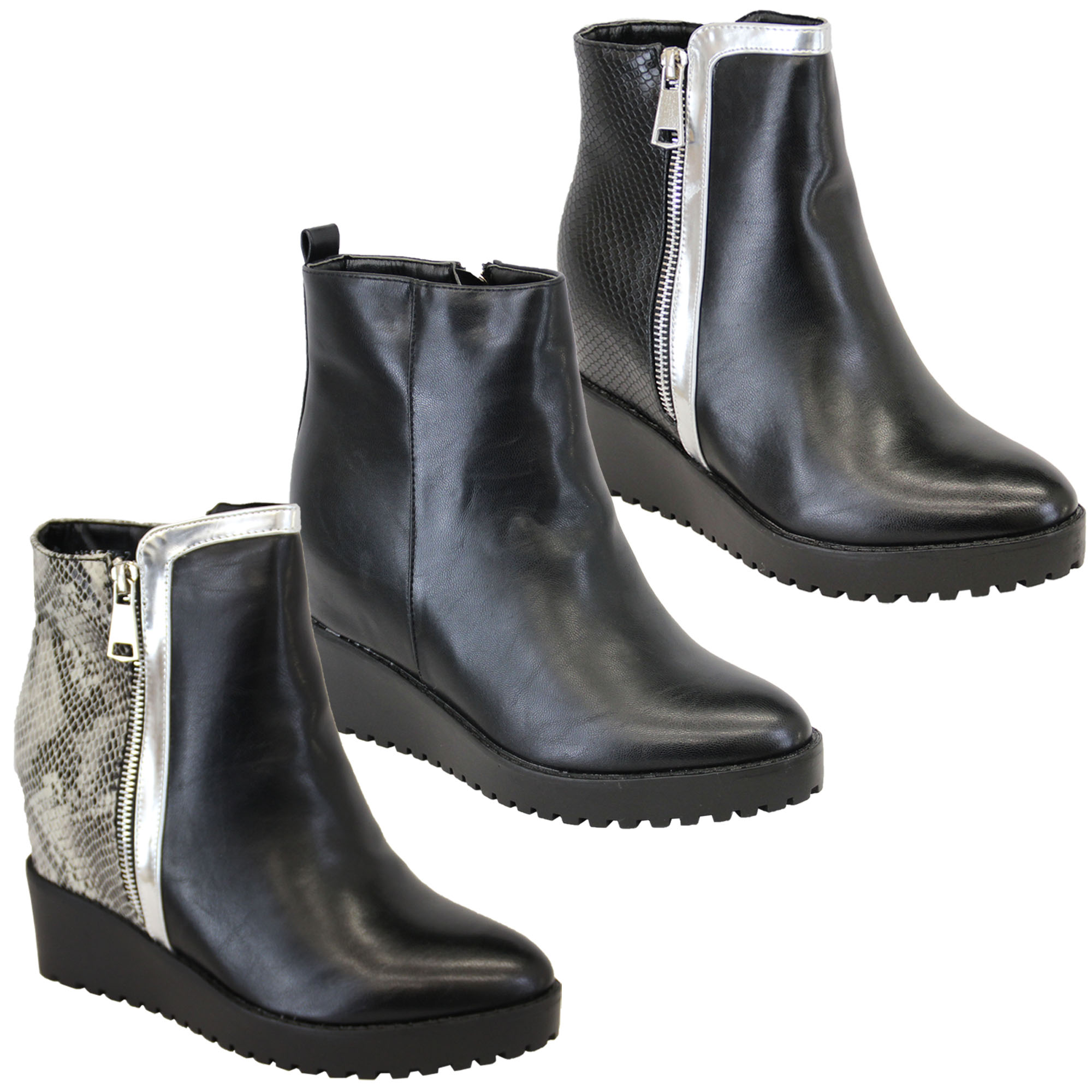 ea72cb6a7cc2 Ladies Boots Kelsi Womens High Top Wedge Ankle Leather Look Shoes Snake  Effect