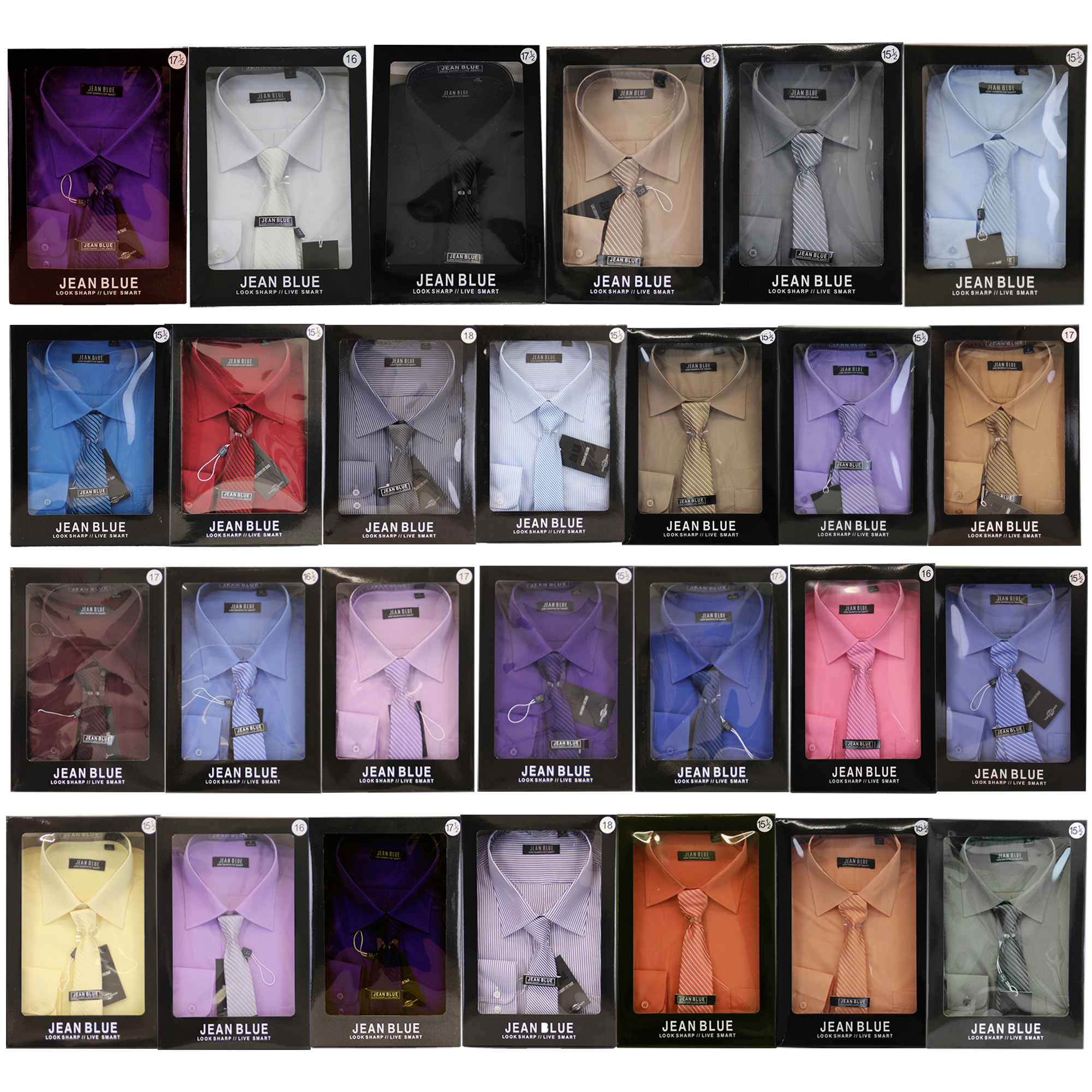 Mens-Shirt-Tie-Set-Formal-Italian-Style-Box-Office-Long-Sleeved-Wedding-Party thumbnail 3