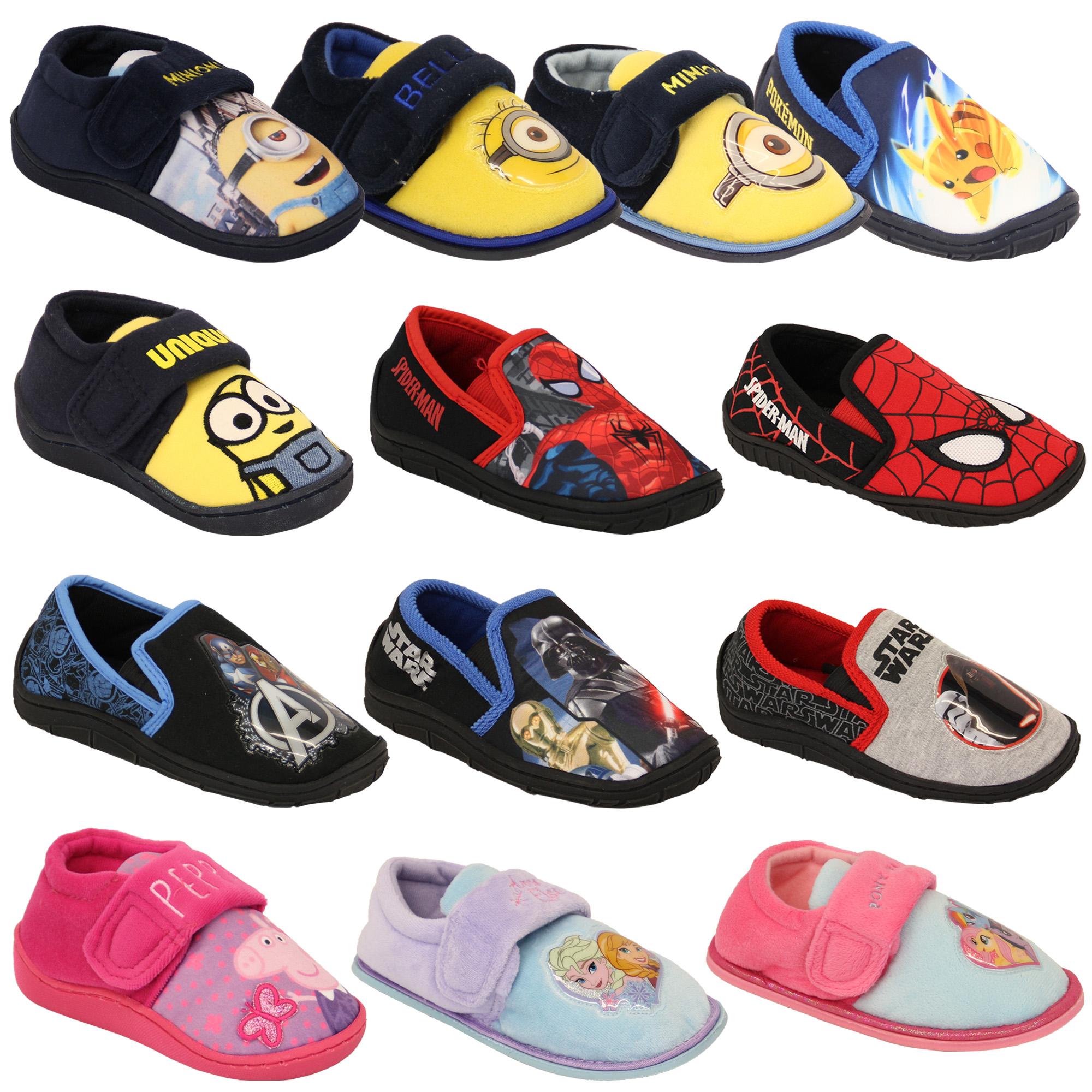 Boys-Girls-Shoes-Minion-Kids-Trainers-Star-Wars-Disney-Spiderman-Slipper thumbnail 5