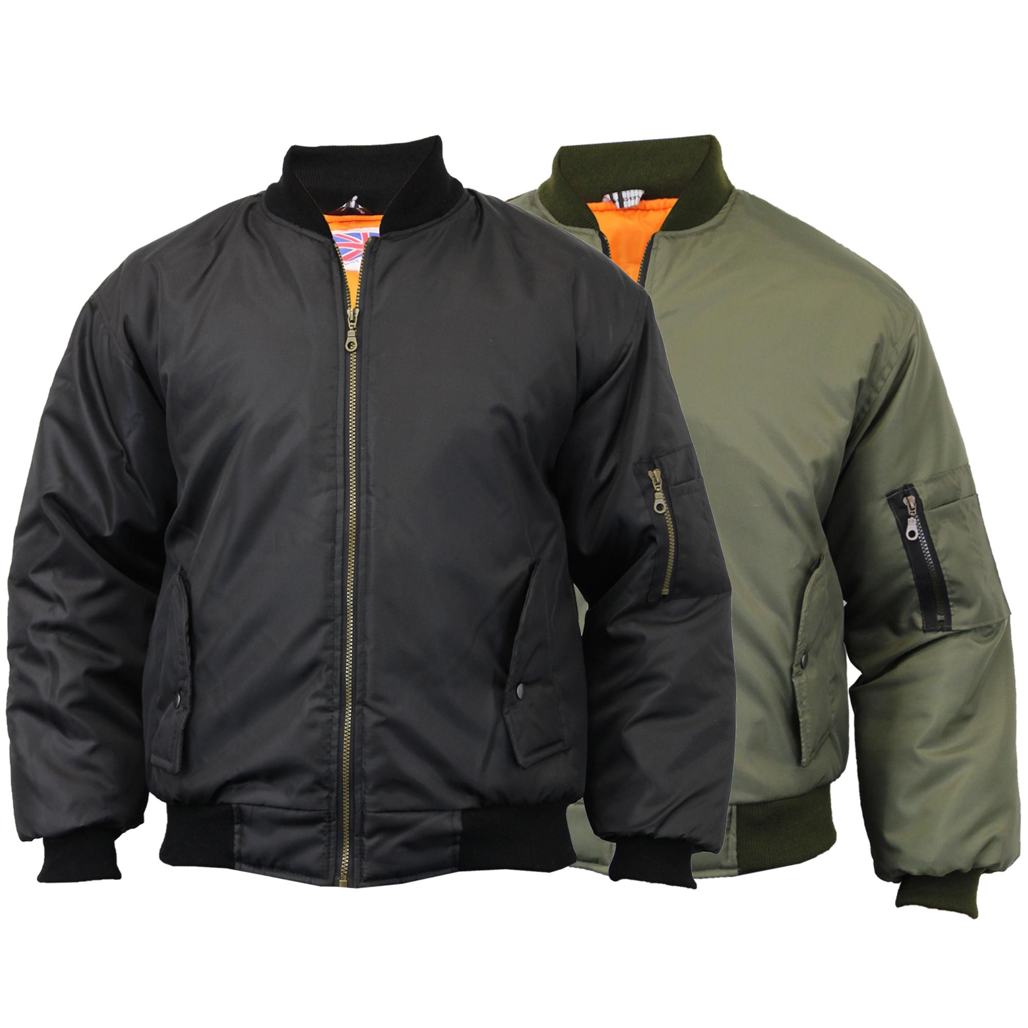 943355e478260 Mens MA1 Jacket Harrington Padded Army Pilot Biker Bomber Fly ...