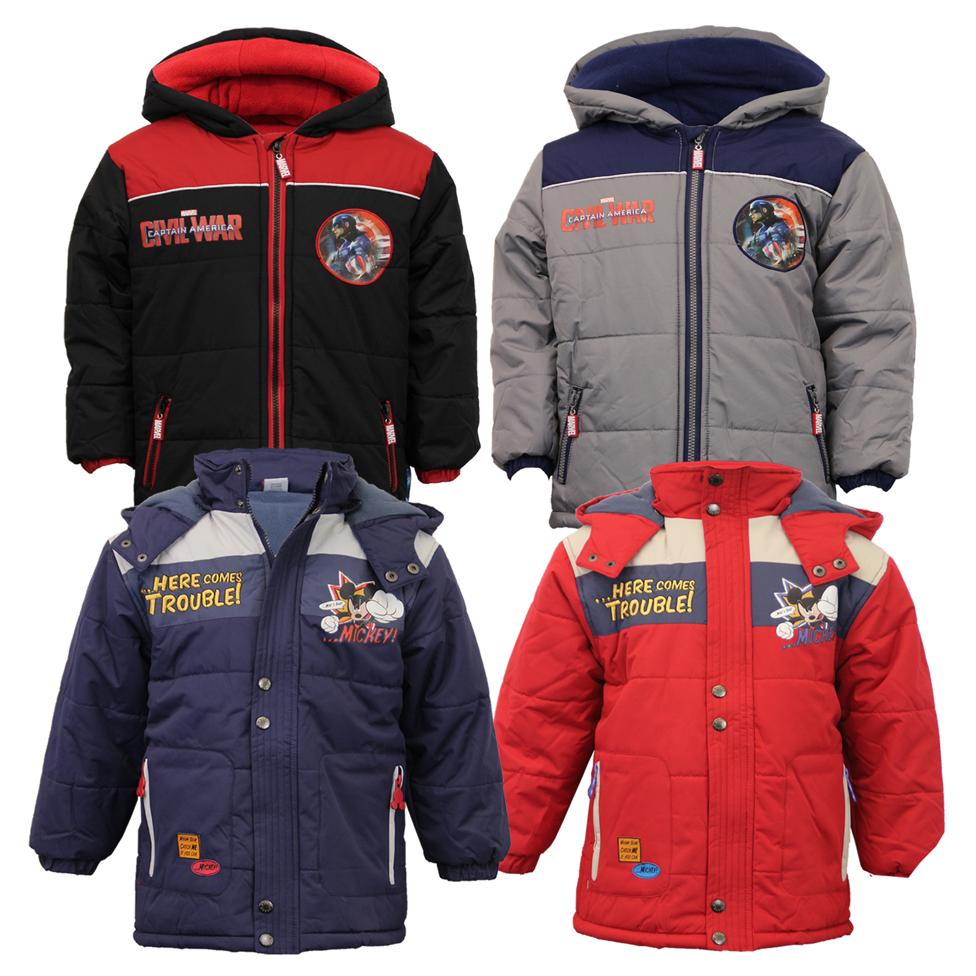 buy online 1ab19 18f5b Details zu Jungen Captain America Spiderman Jacke Kinder Gepolstert Marvel  Disney