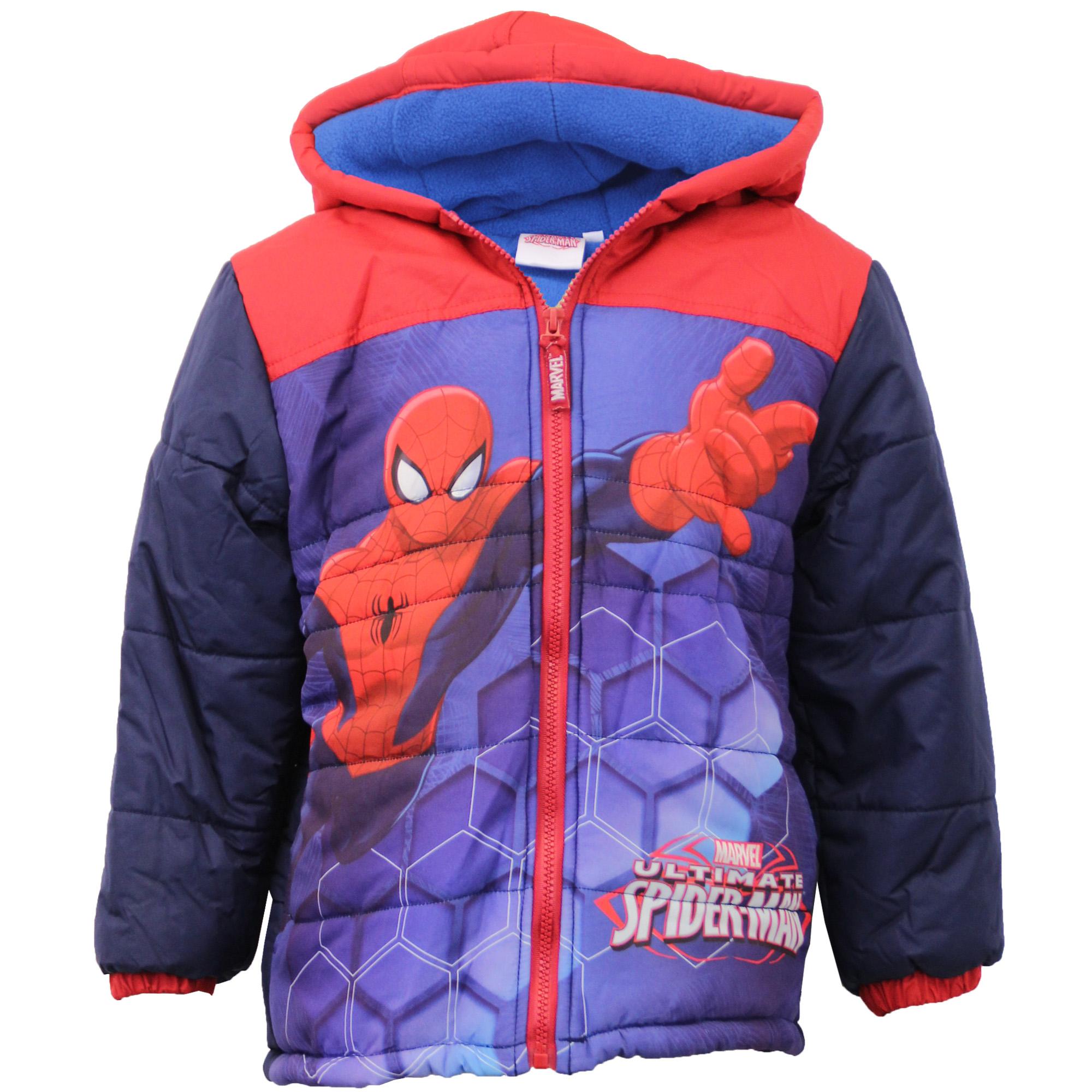 Boys CAPTAIN AMERICA SPIDERMAN Jacket Kids Padded Marvel ...