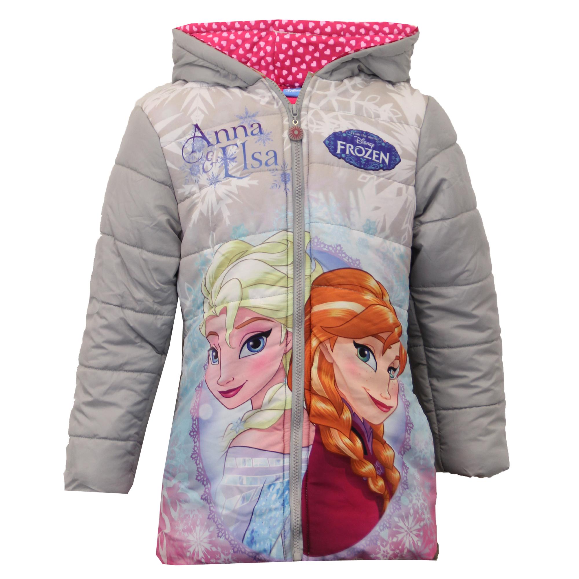 Girls Disney Frozen Jacket Kids Coat ANNA ELSA Padded ...
