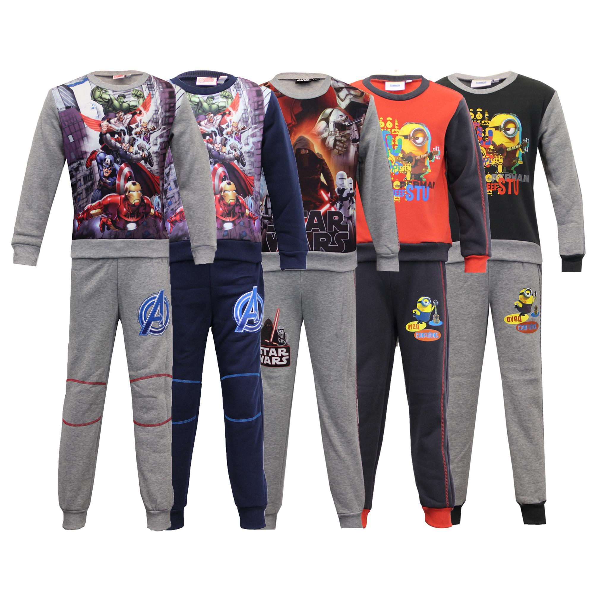 en stock gama completa de artículos venta limitada Detalles de Niños Set Pijama Chándal Marvel Star Wars Minions Top Fondo  Vellón Invierno