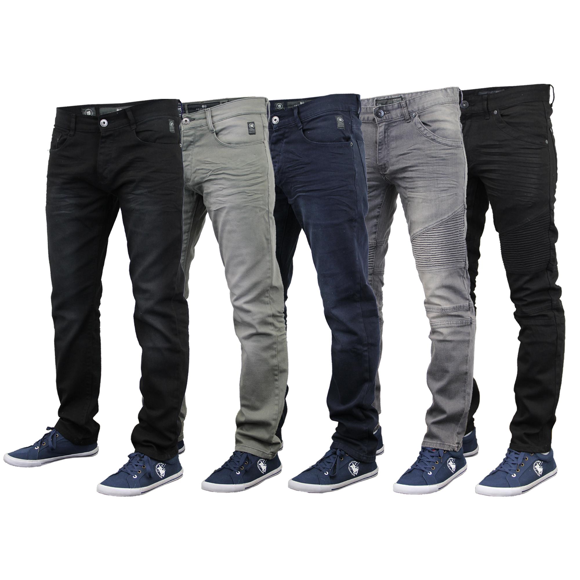 9dfa3a1c406 Mens Denim Jeans Crosshatch Pants Skinny Slim Fit Trouser Ruched ...