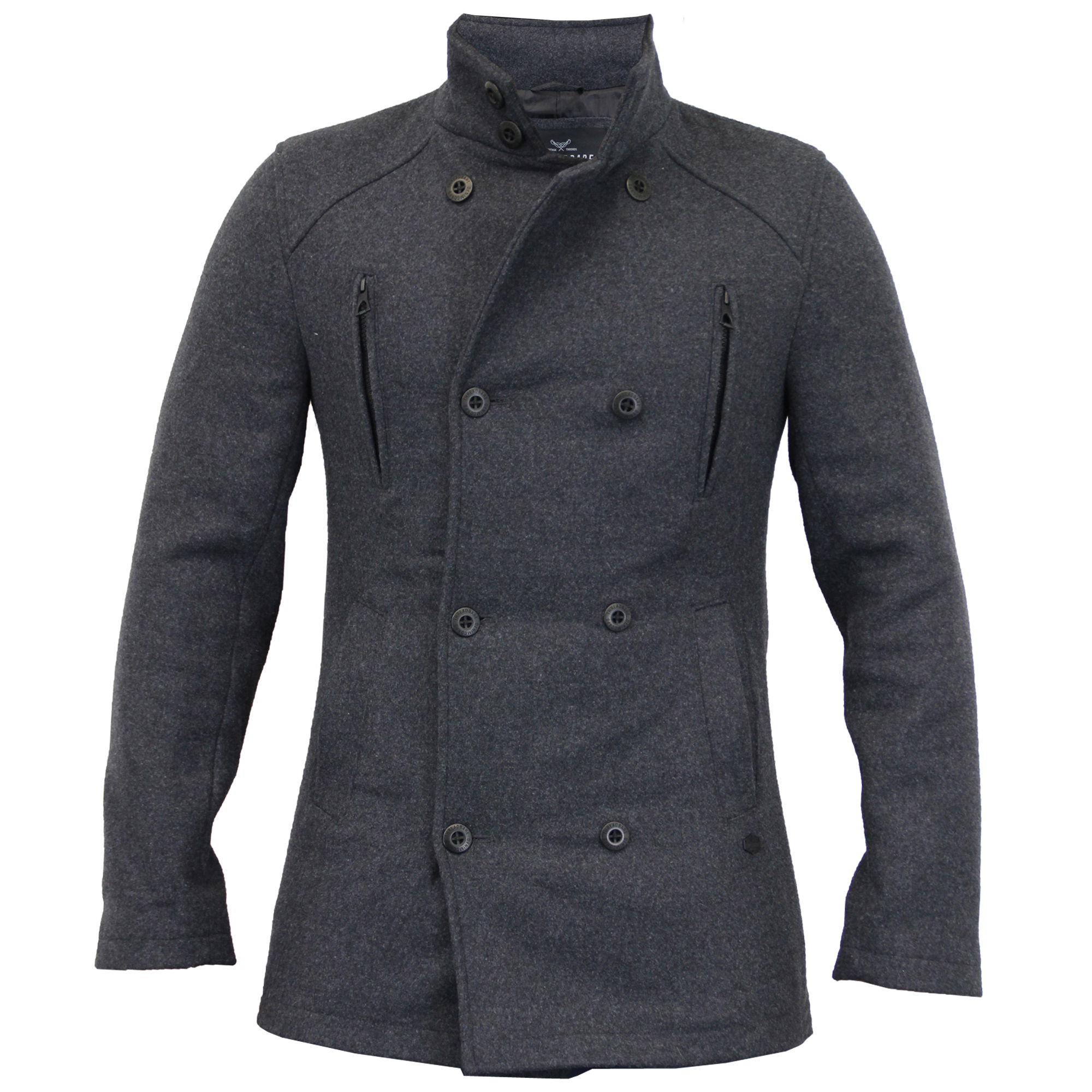 Mens-Wool-Mix-Jacket-Threadbare-Coat-Double-Breasted-Duffle-Lined-Winter-New thumbnail 2