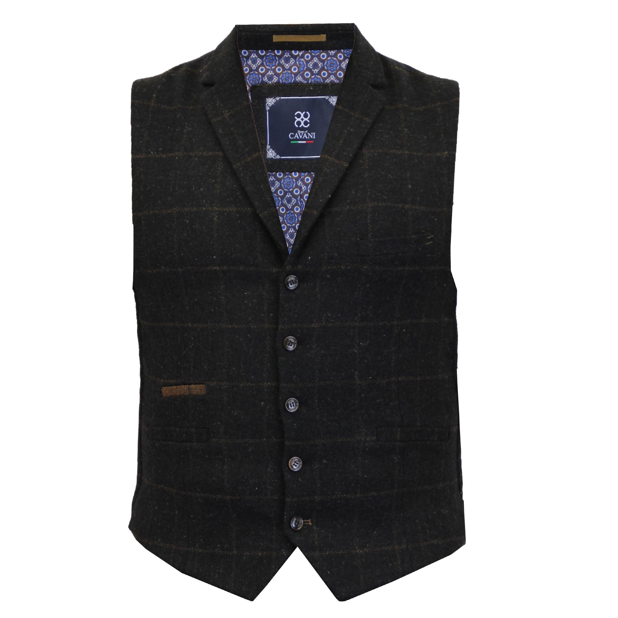 Mens-Waistcoat-Wool-Mix-Cord-Cavani-Formal-Vest-Herringbone-Tweed-Check-Party thumbnail 3