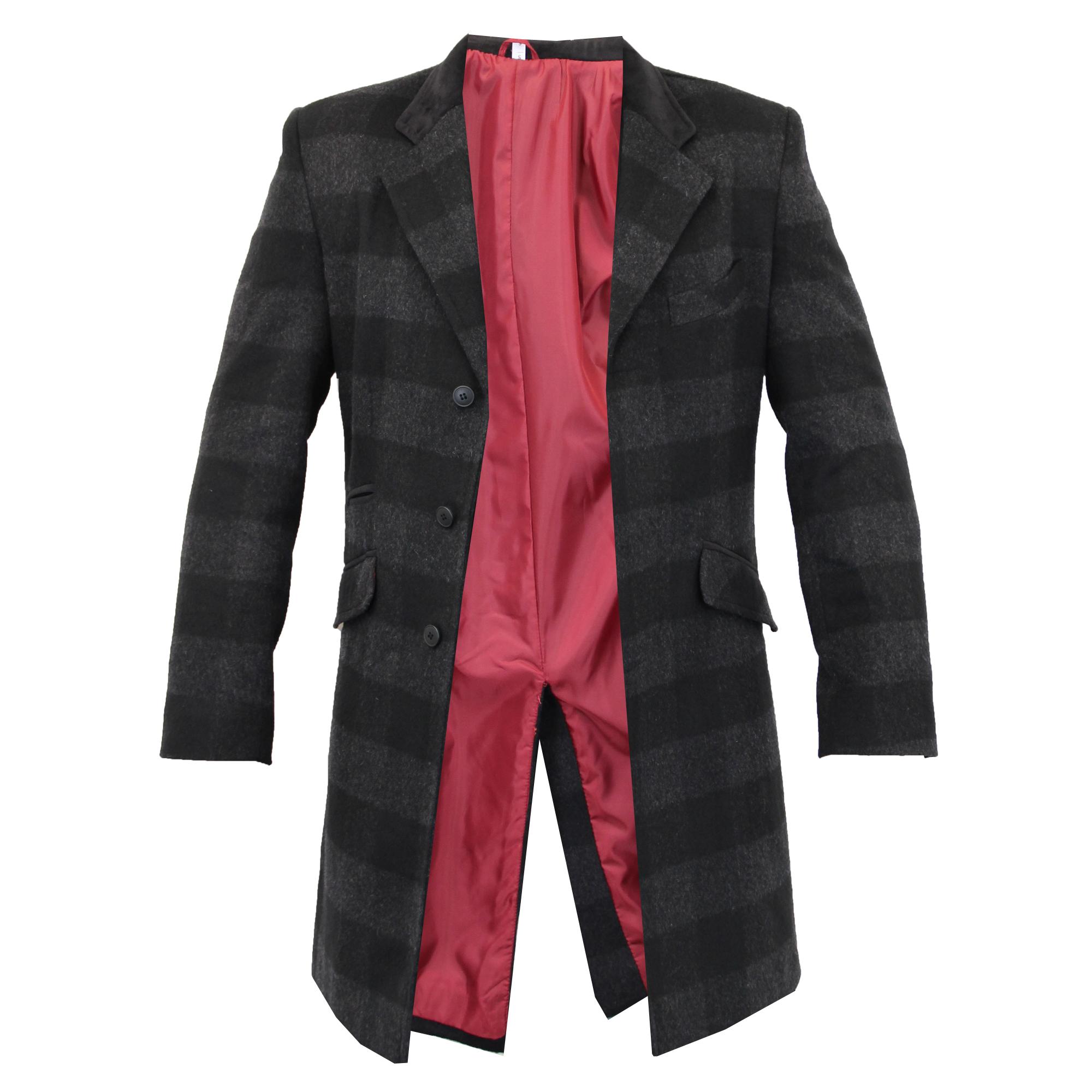 Para-Hombre-Abrigo-Chaqueta-de-lana-cashmere-Casual-abrigos-Abrigo-Trench-Forro-De-Invierno miniatura 7