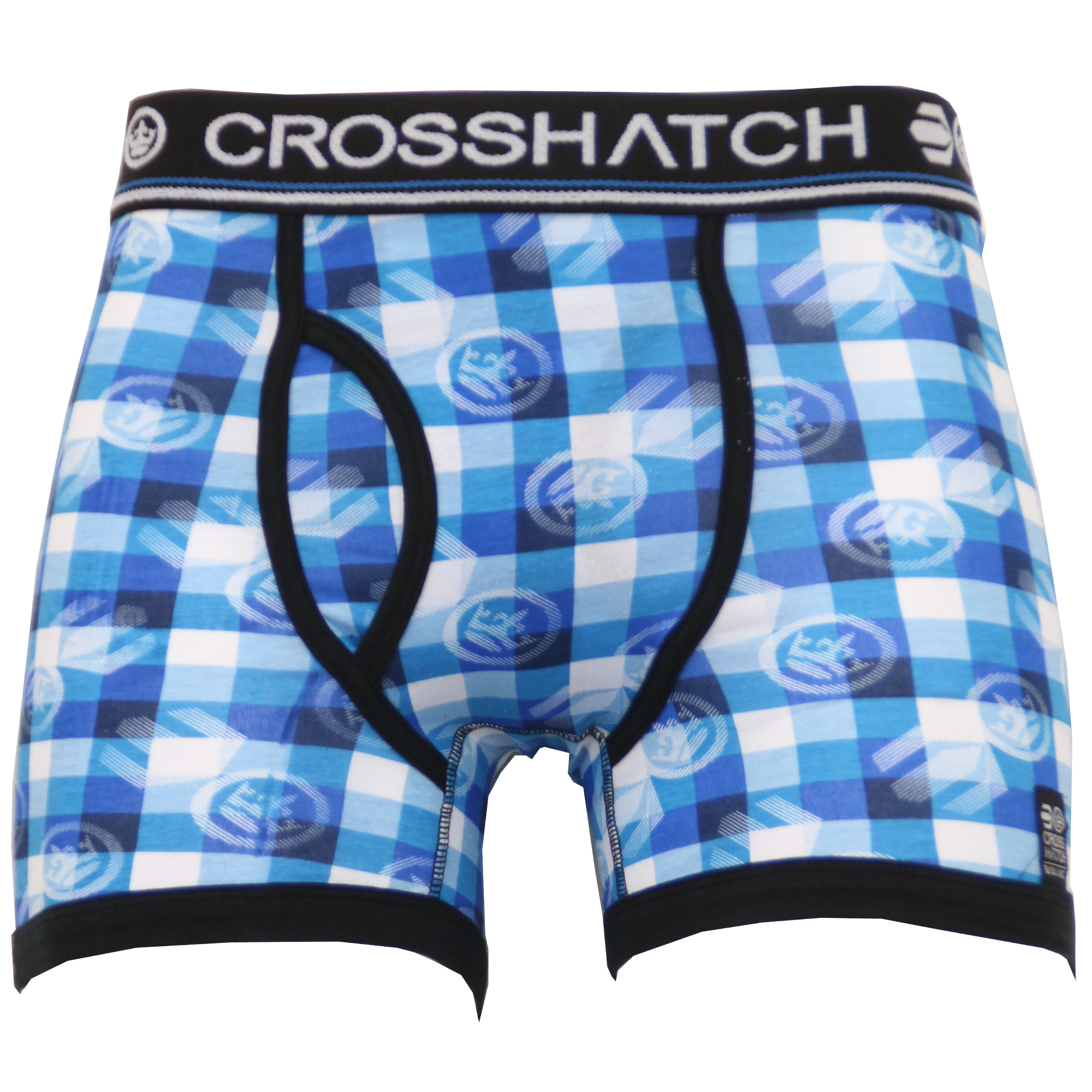 thumbnail 4 - Mens Boxer Crosshatch TWO 2 Pack Underwear Trunks Shorts Plain Check Casual New