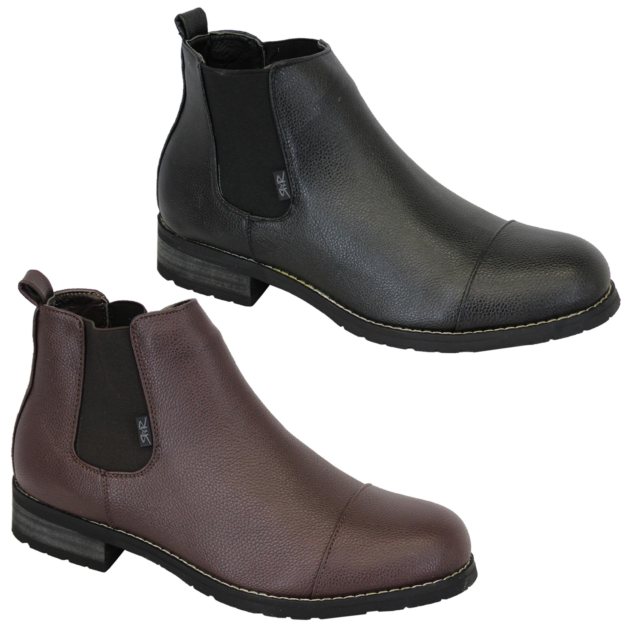 a9cc8cd7fb8 Details about Mens Chelsea Boots Rock & Religion Dealer High Ankle Leather  Look Shoes Designer