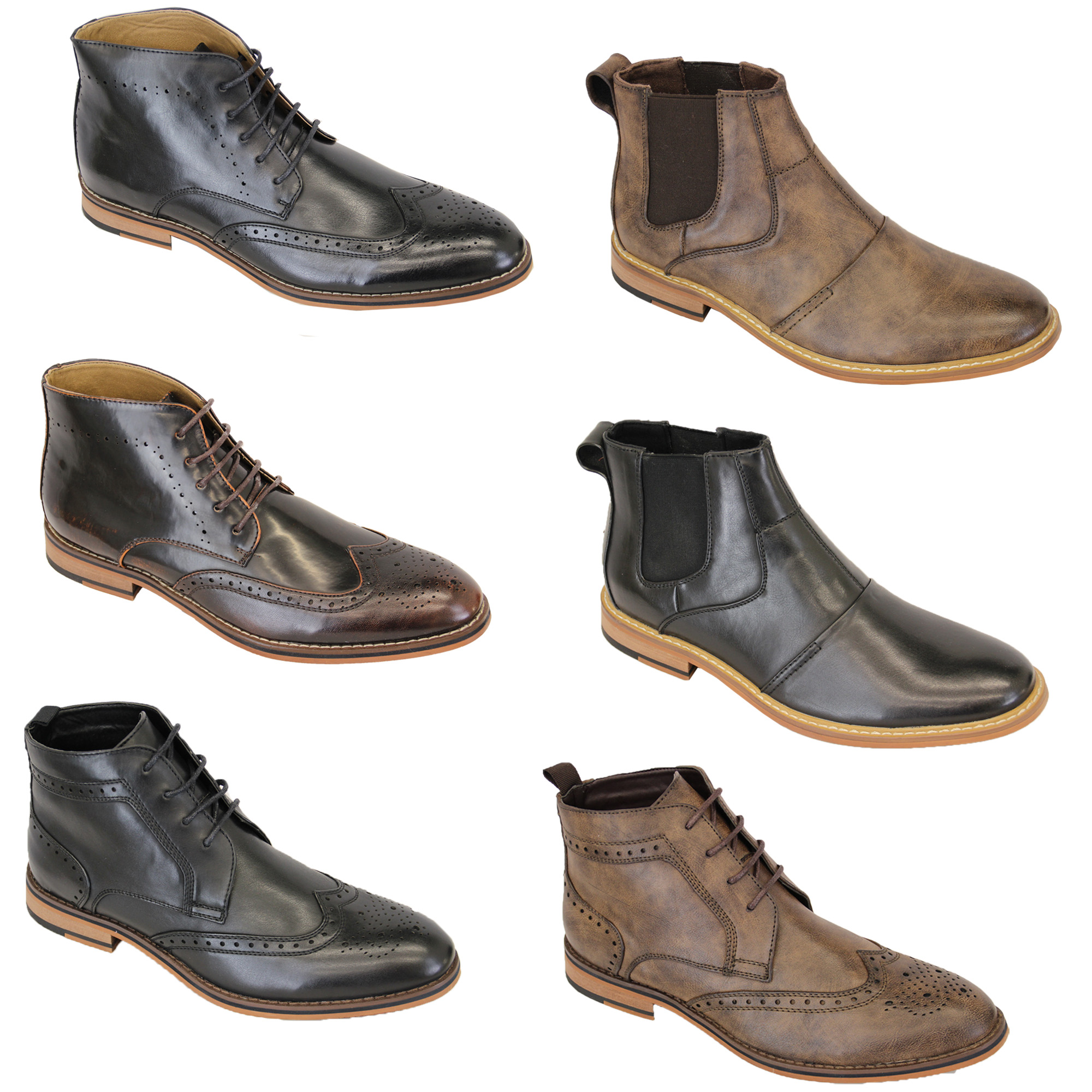 e618cd89dadc Mens Boots Voeut Brogue Chelsea Dealer Shoes High Ankle Leather Look ...