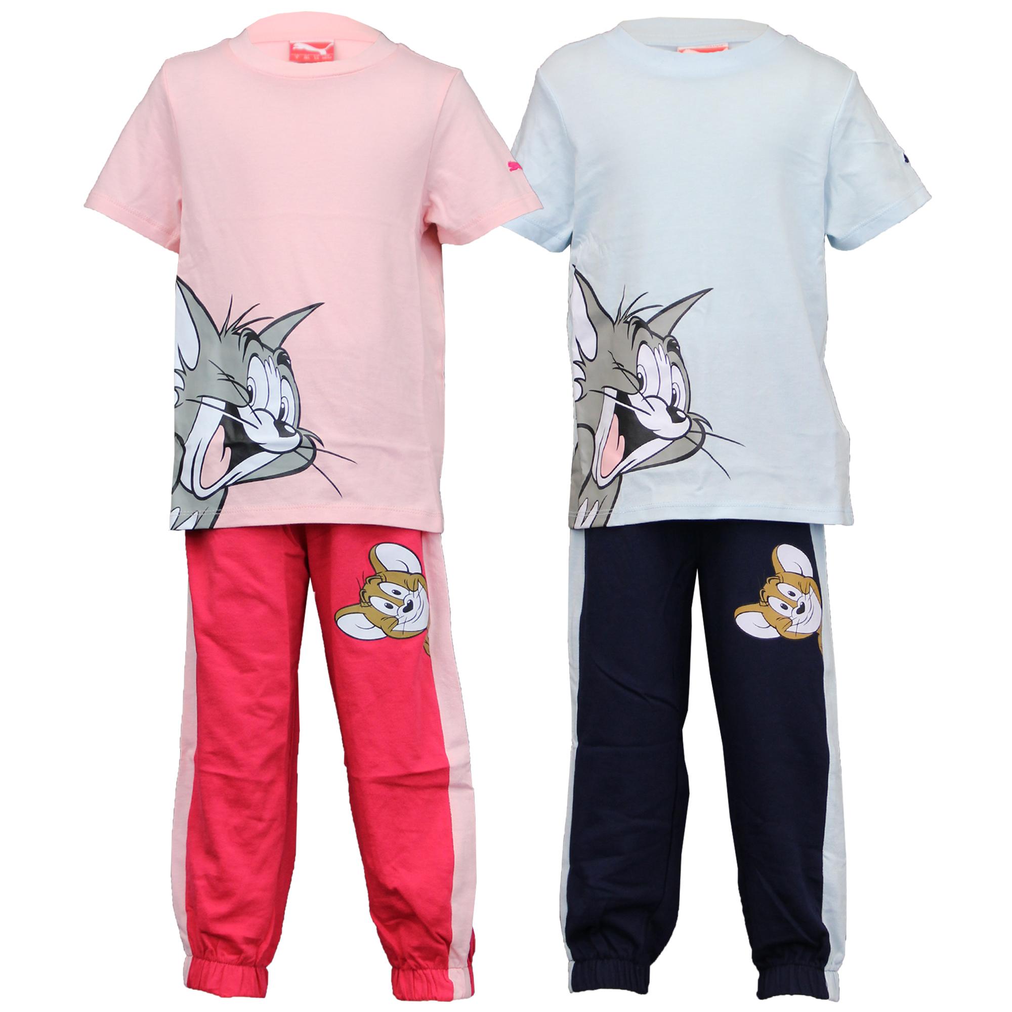 Boys Girls Set PUMA Kids Pyjama Tom & Jerry Cartoon T Shirt Bottom