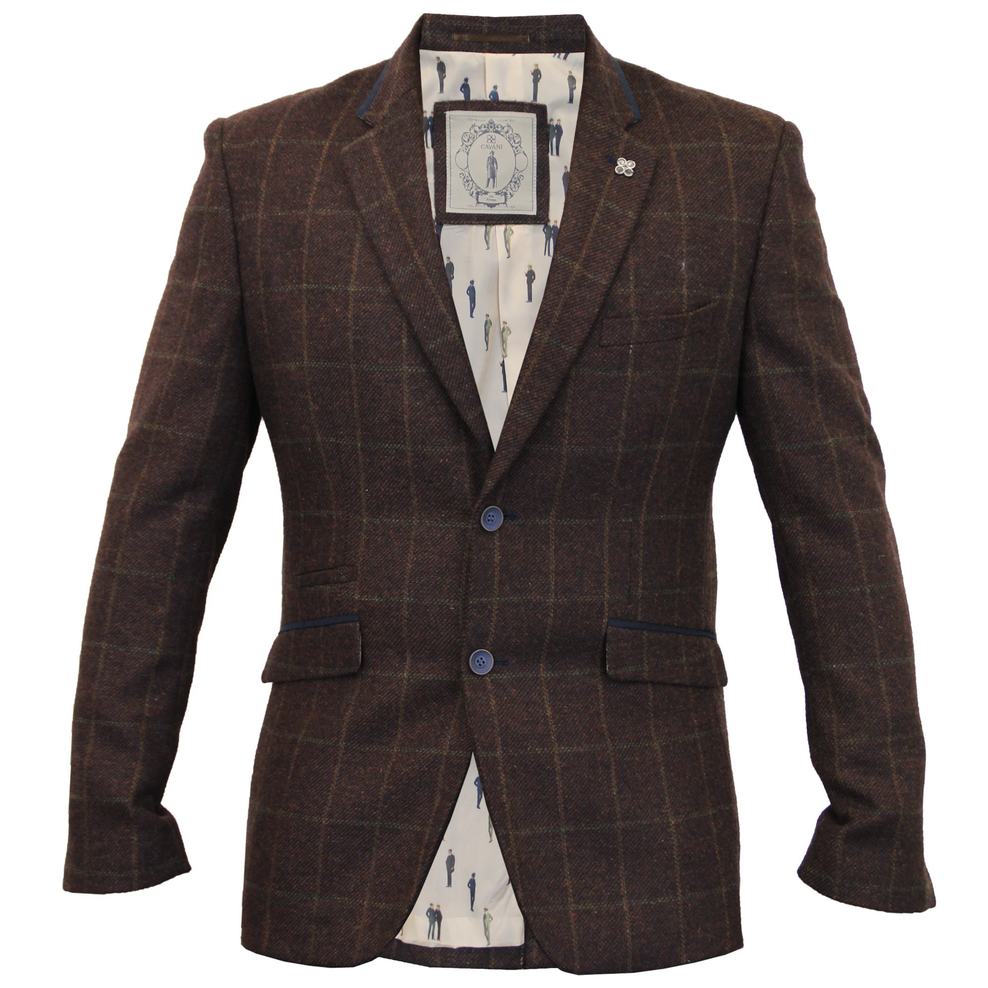 Mens Blazer Cavani Coat Dinner Suit Jacket Herringbone