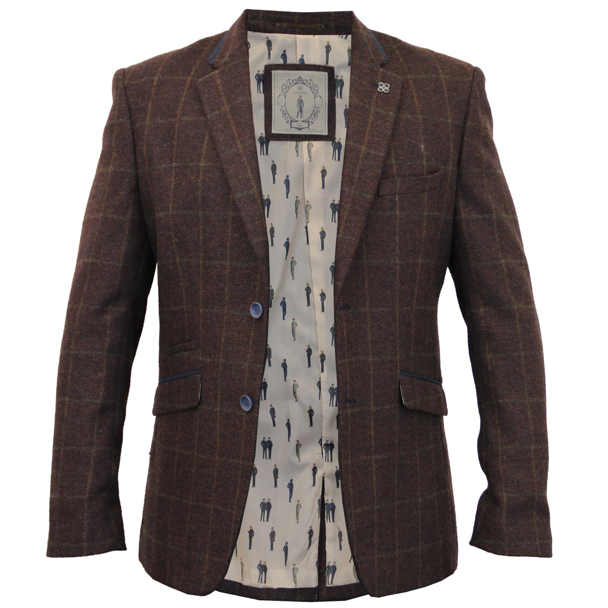 Mens-Blazer-Cavani-Coat-Dinner-Suit-Jacket-Herringbone-Checked-Designer-Lined thumbnail 3