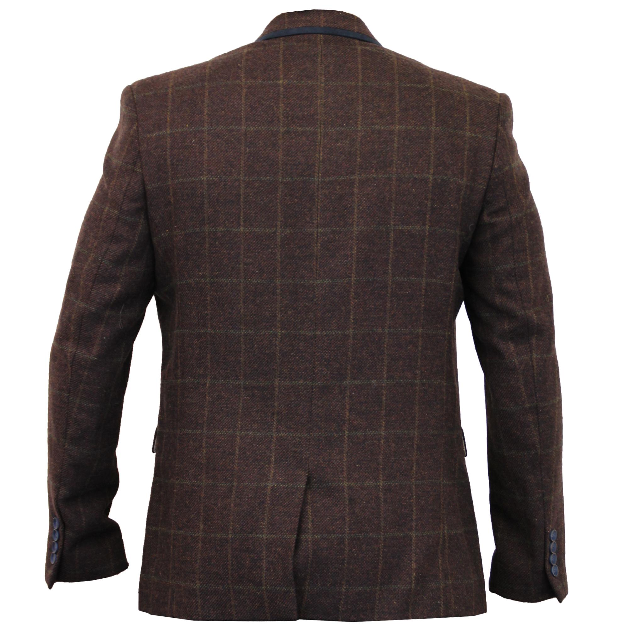 Mens-Blazer-Cavani-Coat-Dinner-Suit-Jacket-Herringbone-Checked-Designer-Lined thumbnail 4