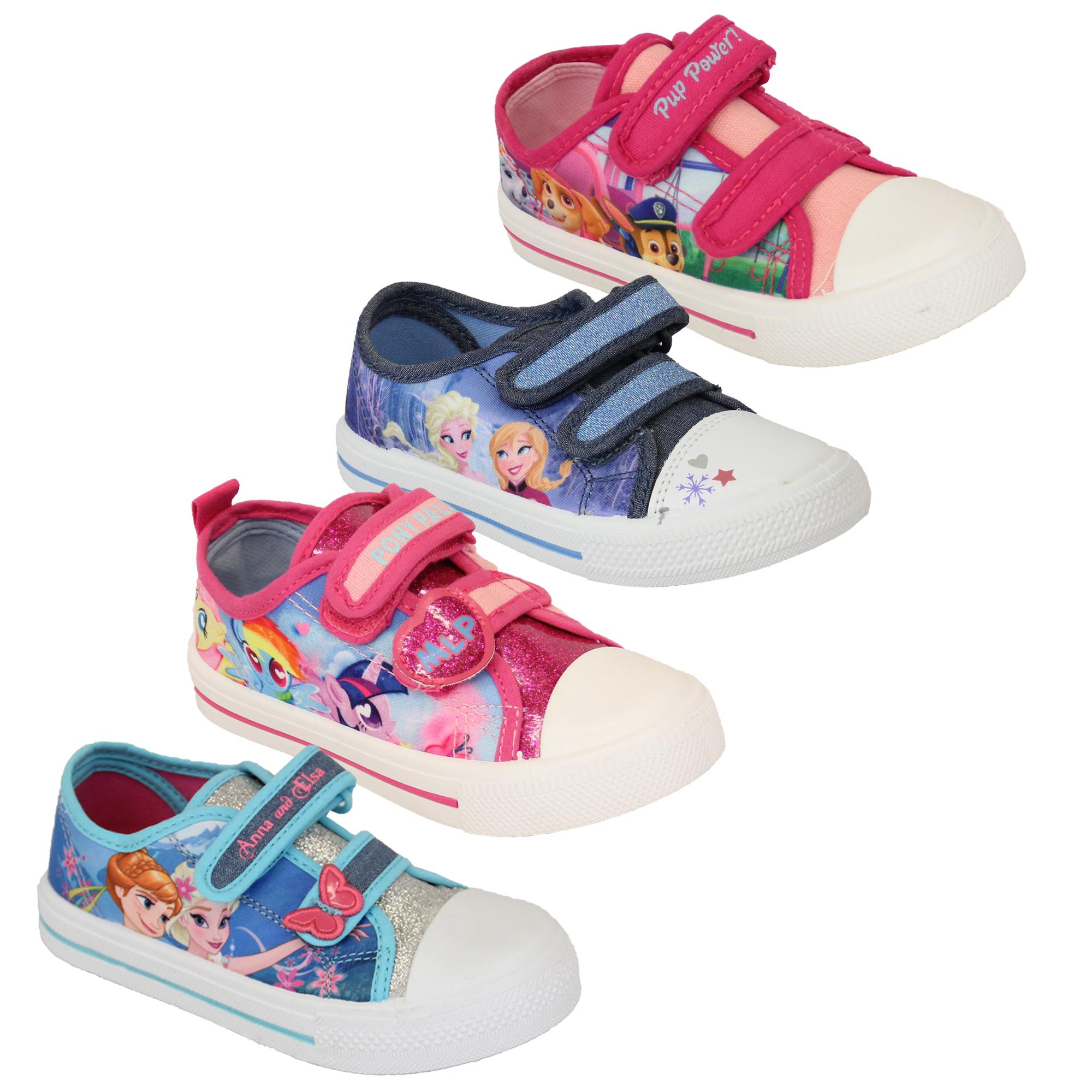 huge selection of 881af 88164 Dettagli su Bambine Ragazze Anna Elsa Paw Patrol Tela My Little Pony Scarpe  Ballerine Nuovo