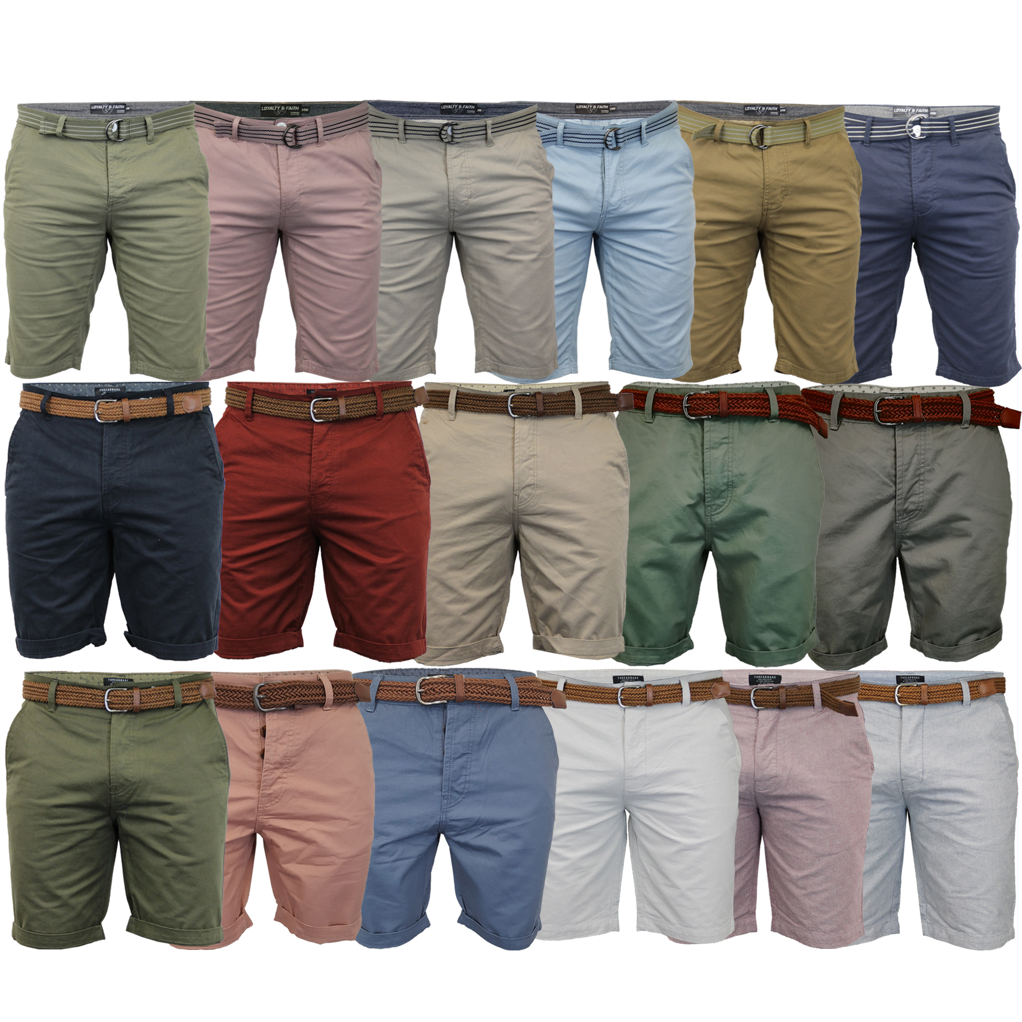 Mens-Chino-Shorts-Threadbare-Cotton-Oxford-Belted-Loyalty-amp-Faith-Seven-Series thumbnail 15