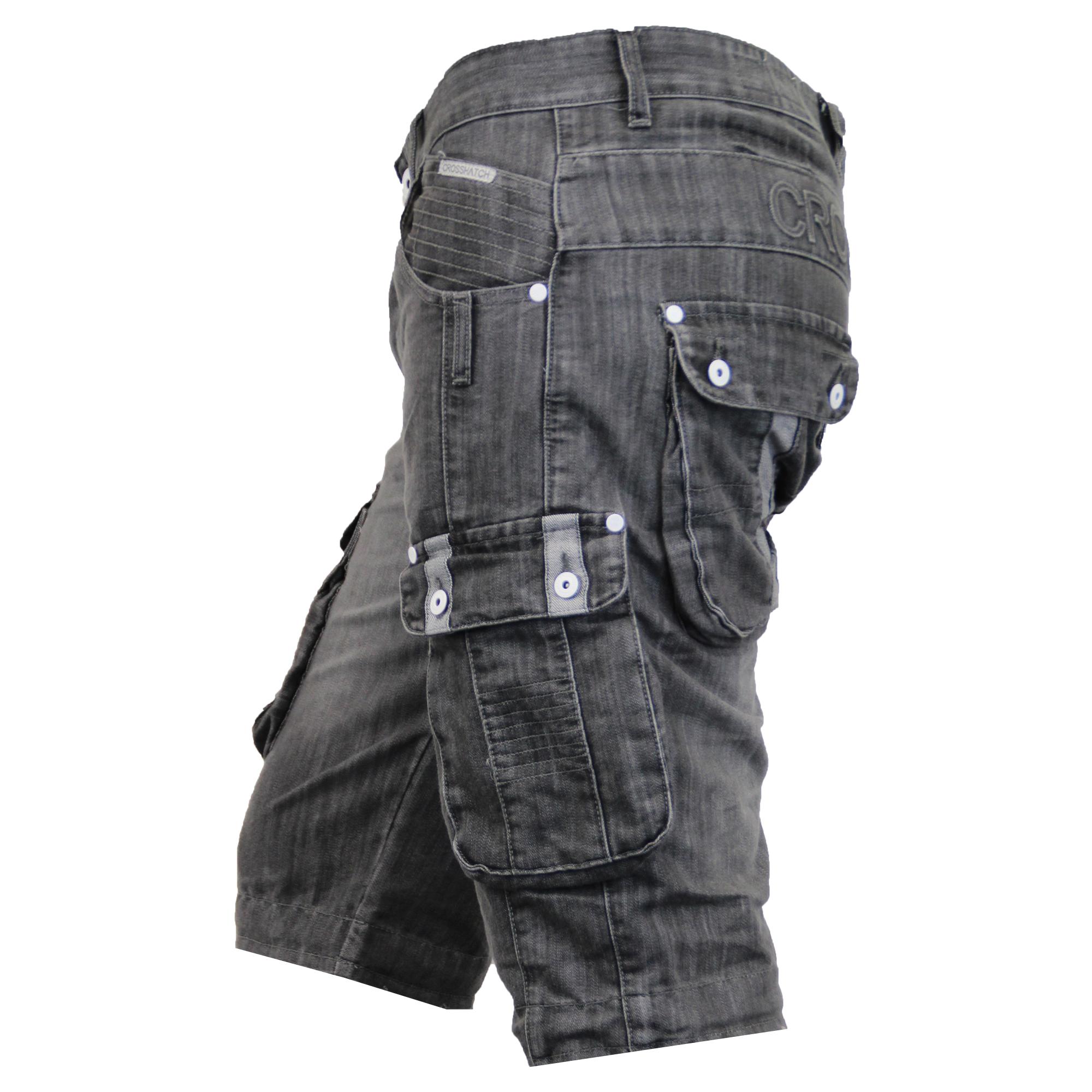 Mens-Denim-Knee-Length-Combat-Shorts-By-Crosshatch thumbnail 9