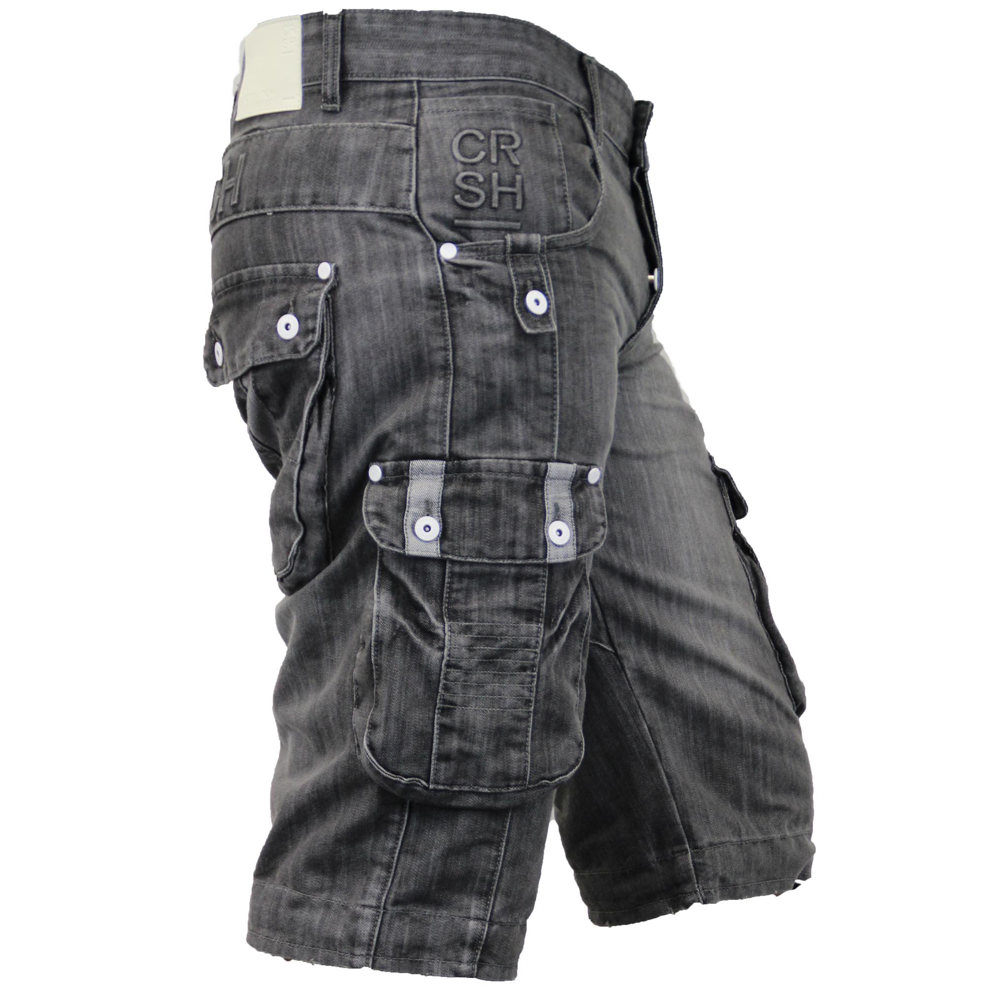 Mens-Denim-Knee-Length-Combat-Shorts-By-Crosshatch thumbnail 10