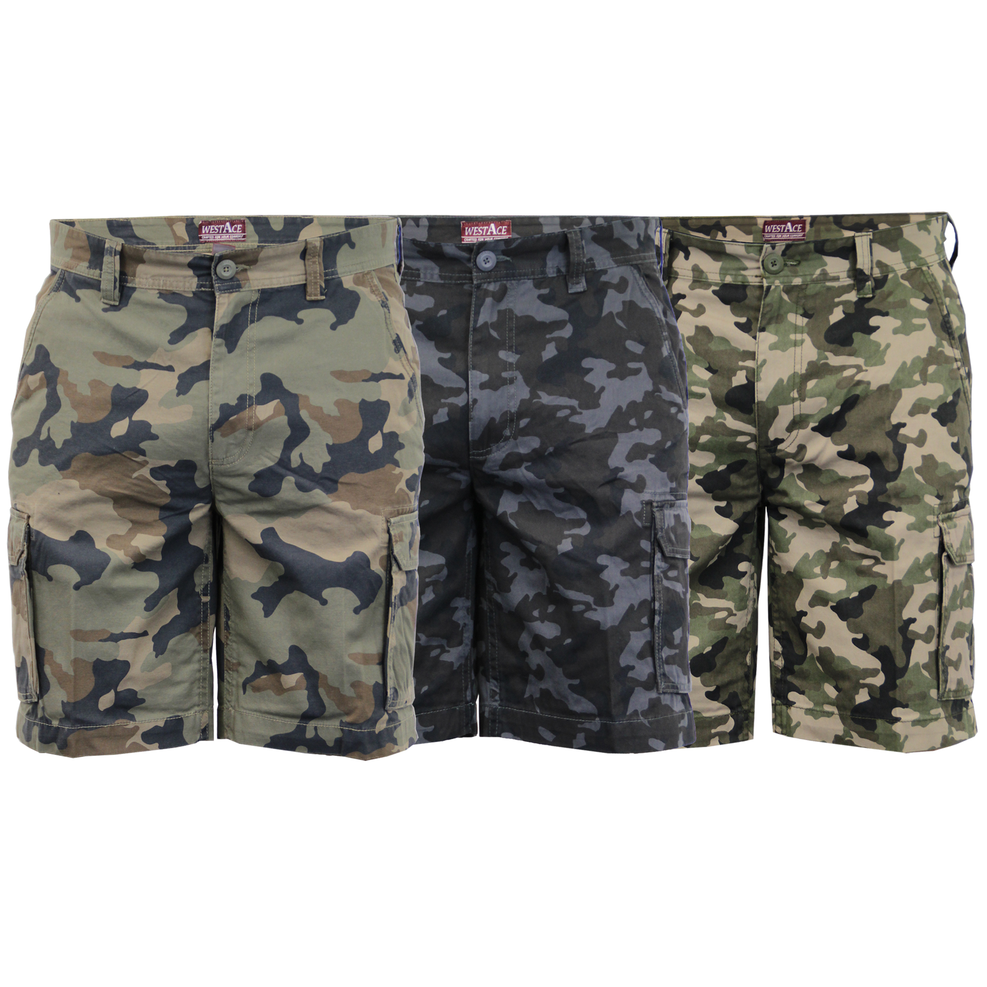 87e2cbc88f Mens Camouflage Cargo Shorts Combat Knee Length Military Army ...