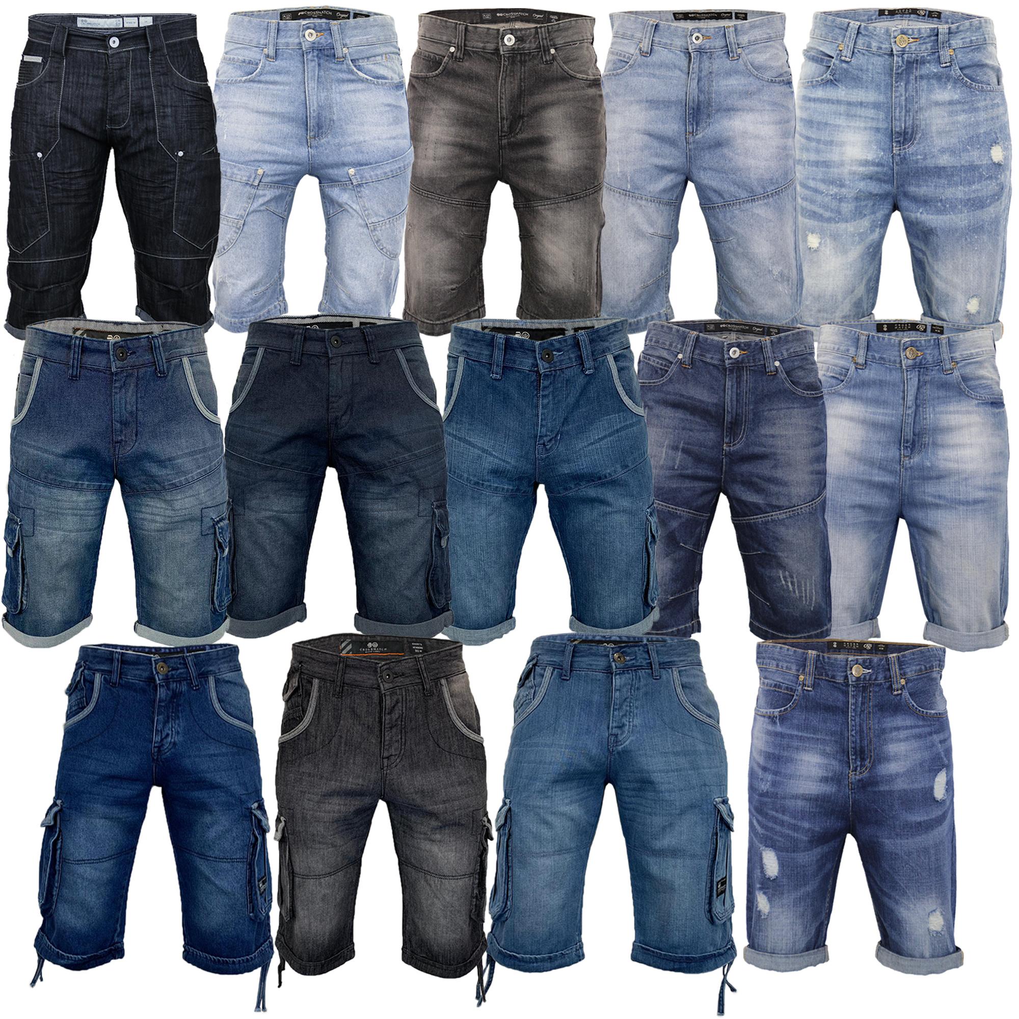 Mens-Crosshatch-Denim-Knee-Length-Combat-Shorts-Cargo-Casual-Fashion-Summer-New 縮圖 4