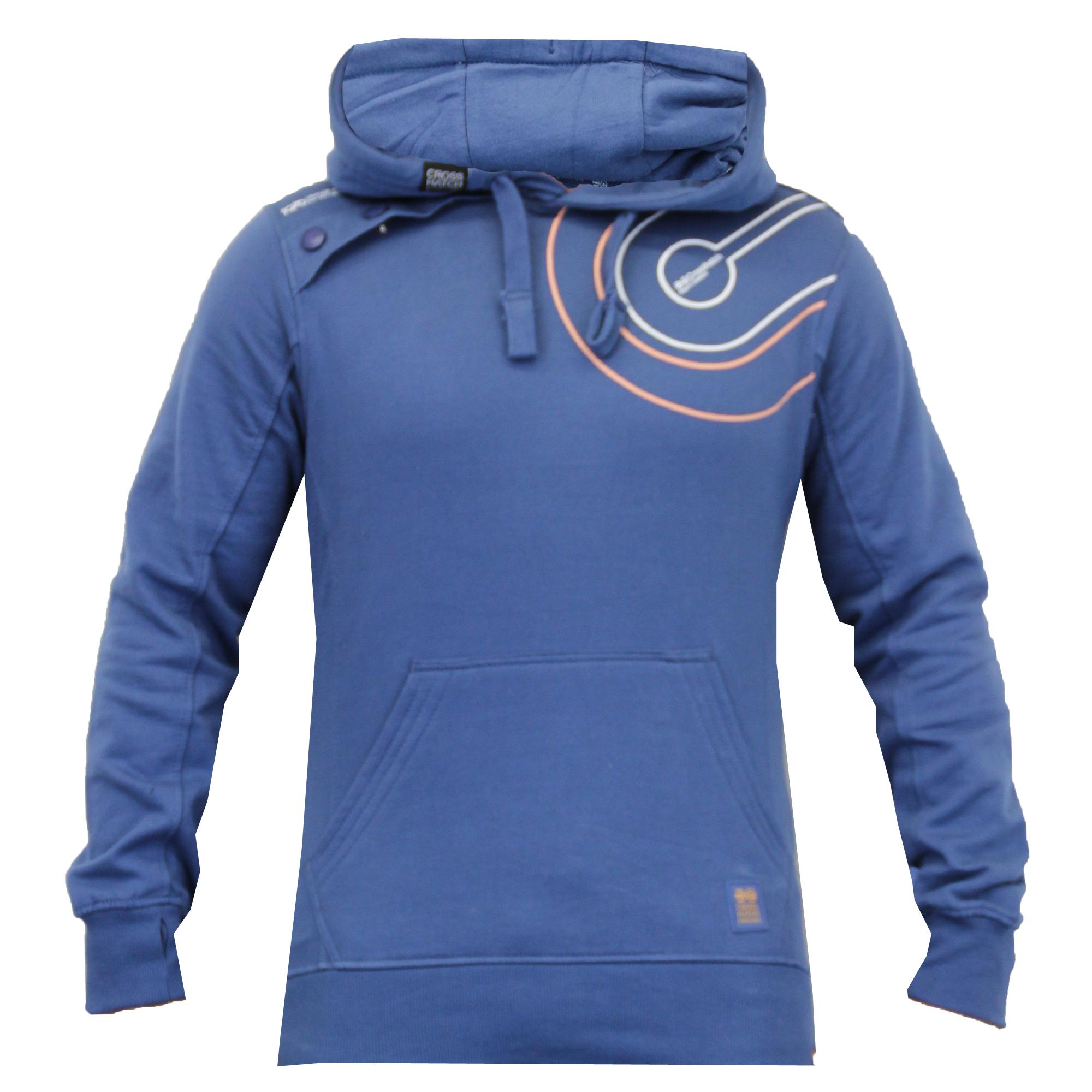 Mens-Hooded-Sweatshirt-By-Crosshatch-Fleece-Lined thumbnail 2