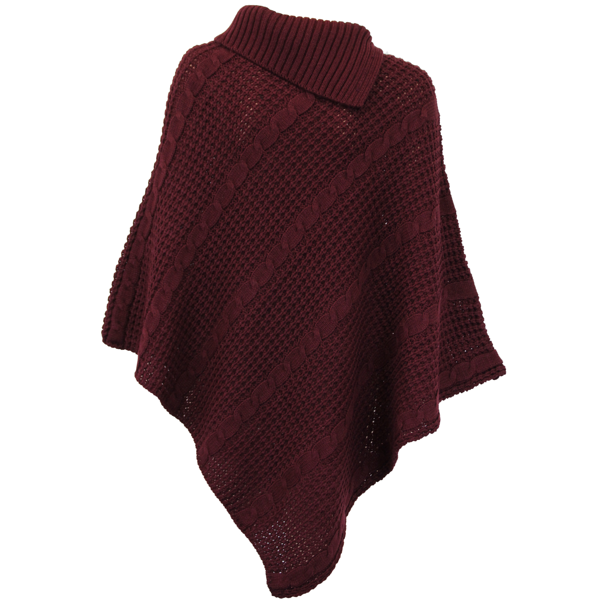 Ladies Poncho Jumper Womens Knitted Cape Sweater Top Check ...