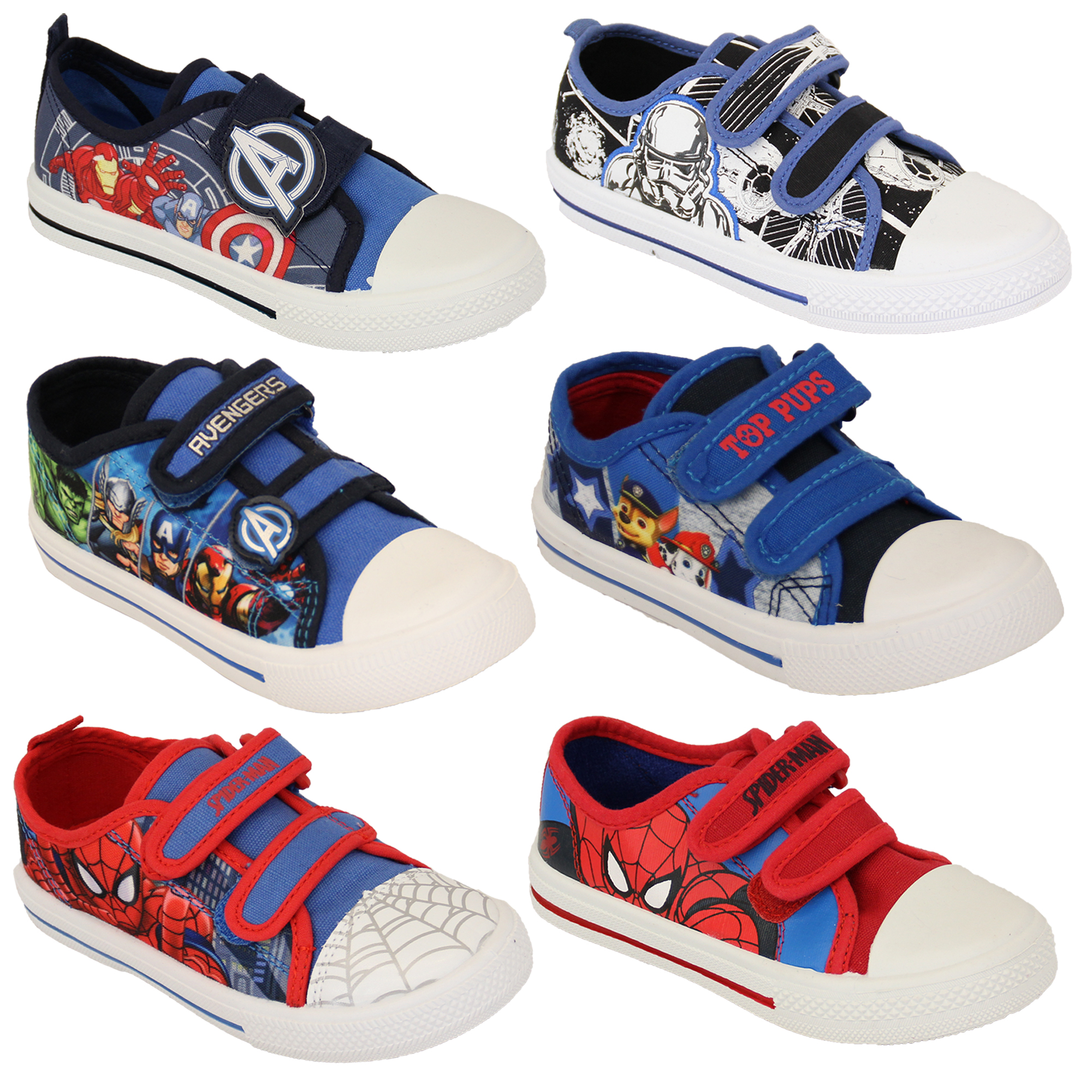 5d8b64d6ed9fd Details about Boys Avengers Spiderman Star Wars Trooper Trainers Kids Paw  Patrol Marvel Pumps