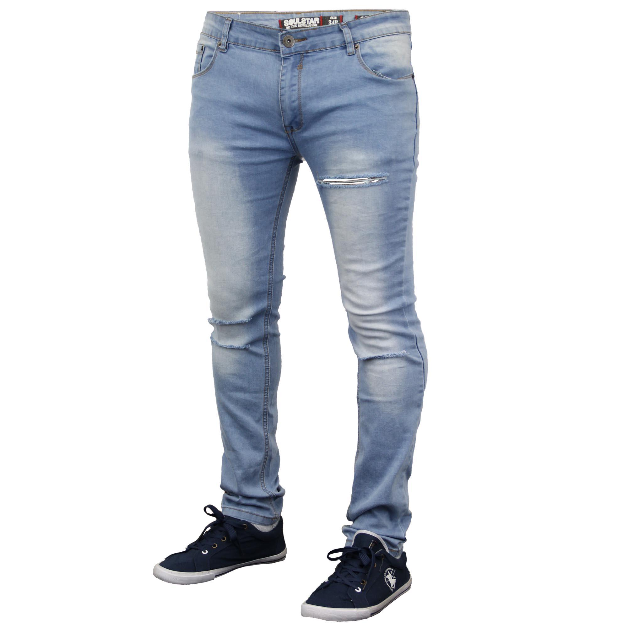 herren zerrissen denim skinny fit jeans von soul star ebay. Black Bedroom Furniture Sets. Home Design Ideas