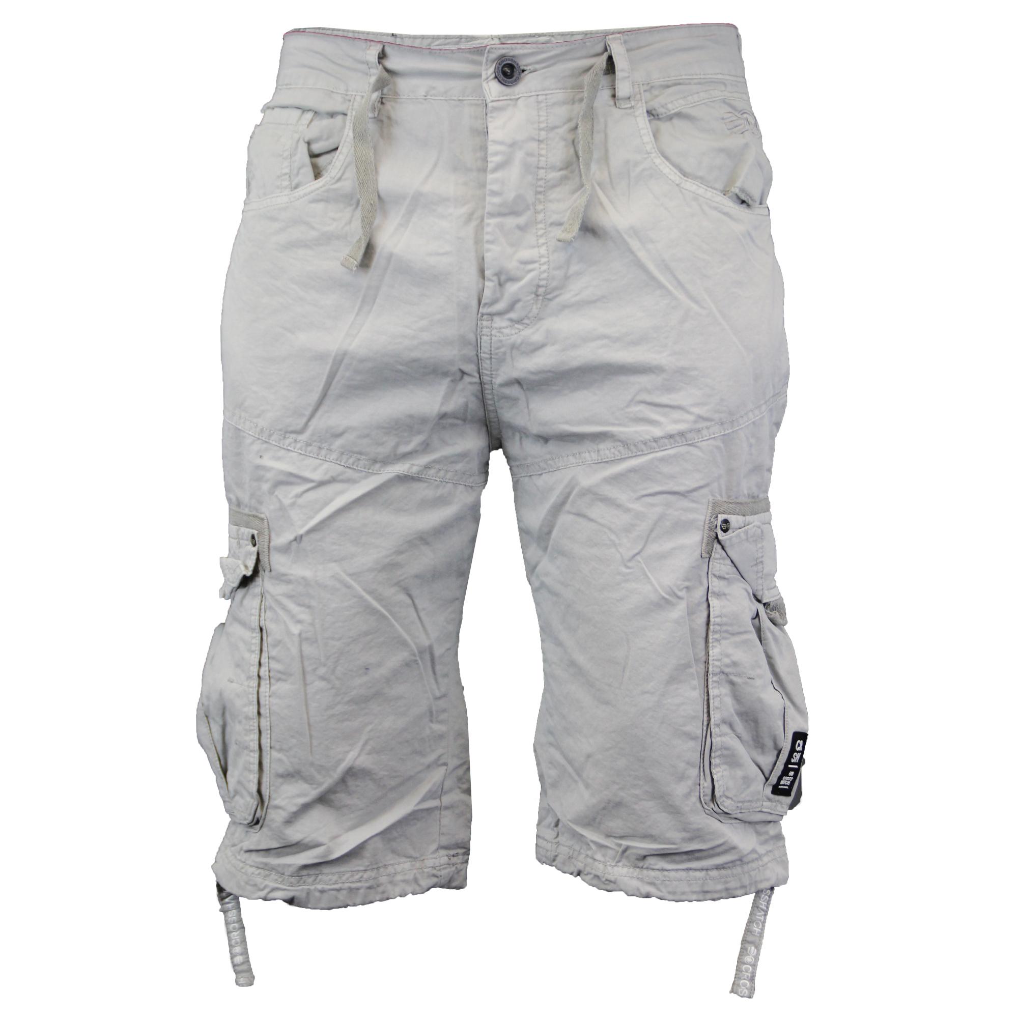 fe894503a4 mens Crosshatch chino style shorts combat cargo knee length half pants  summer | eBay