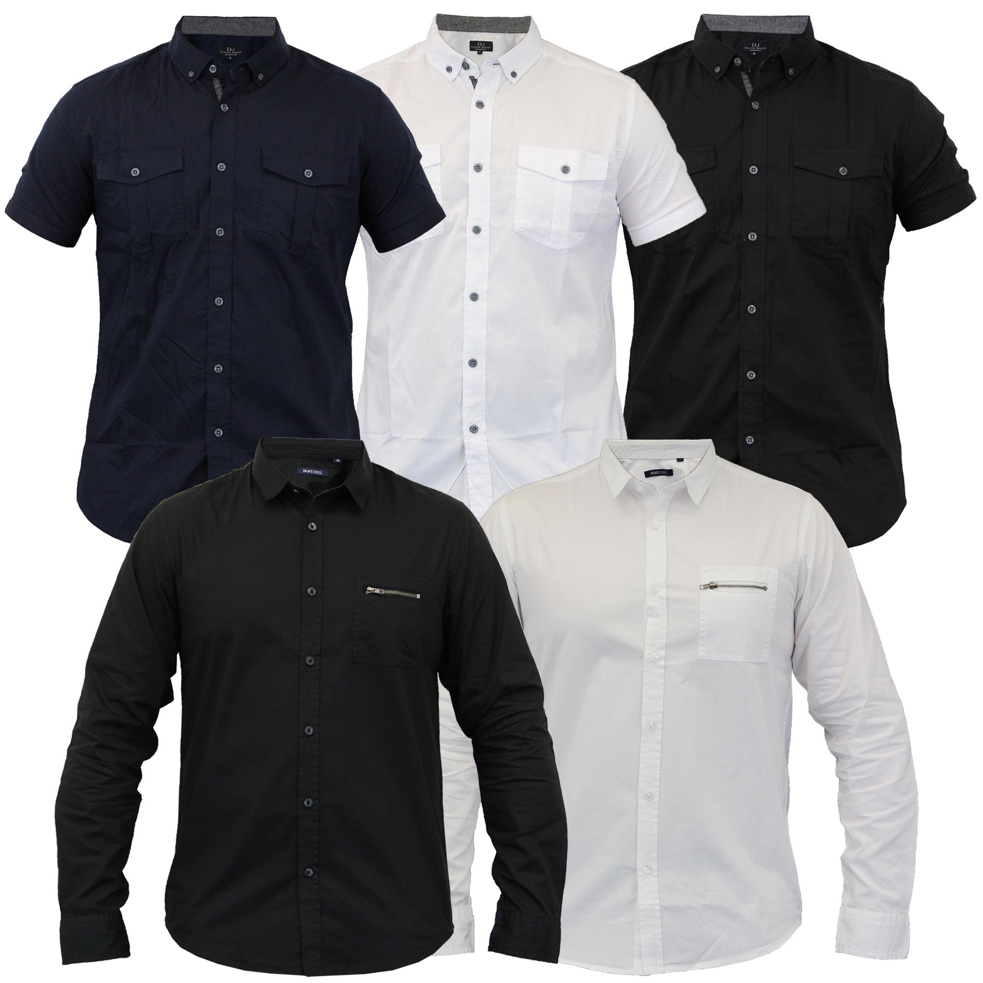 mens shirts Brave Soul Smith /& Jones cotton long short sleeved collared new