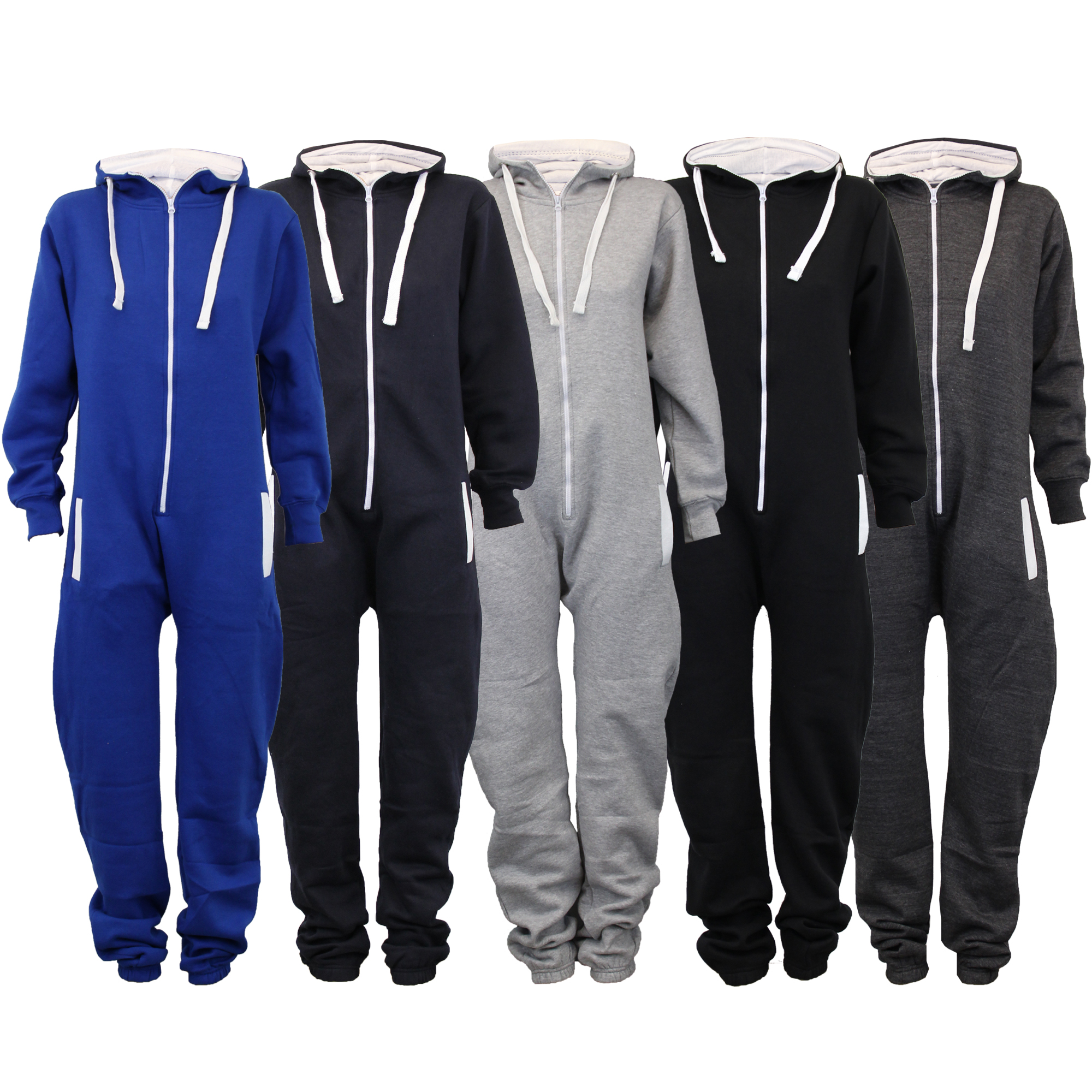 8ce441843a Ladies Mens Hooded Jumpsuits Unisex Onesi Womens Fleece All In One ...