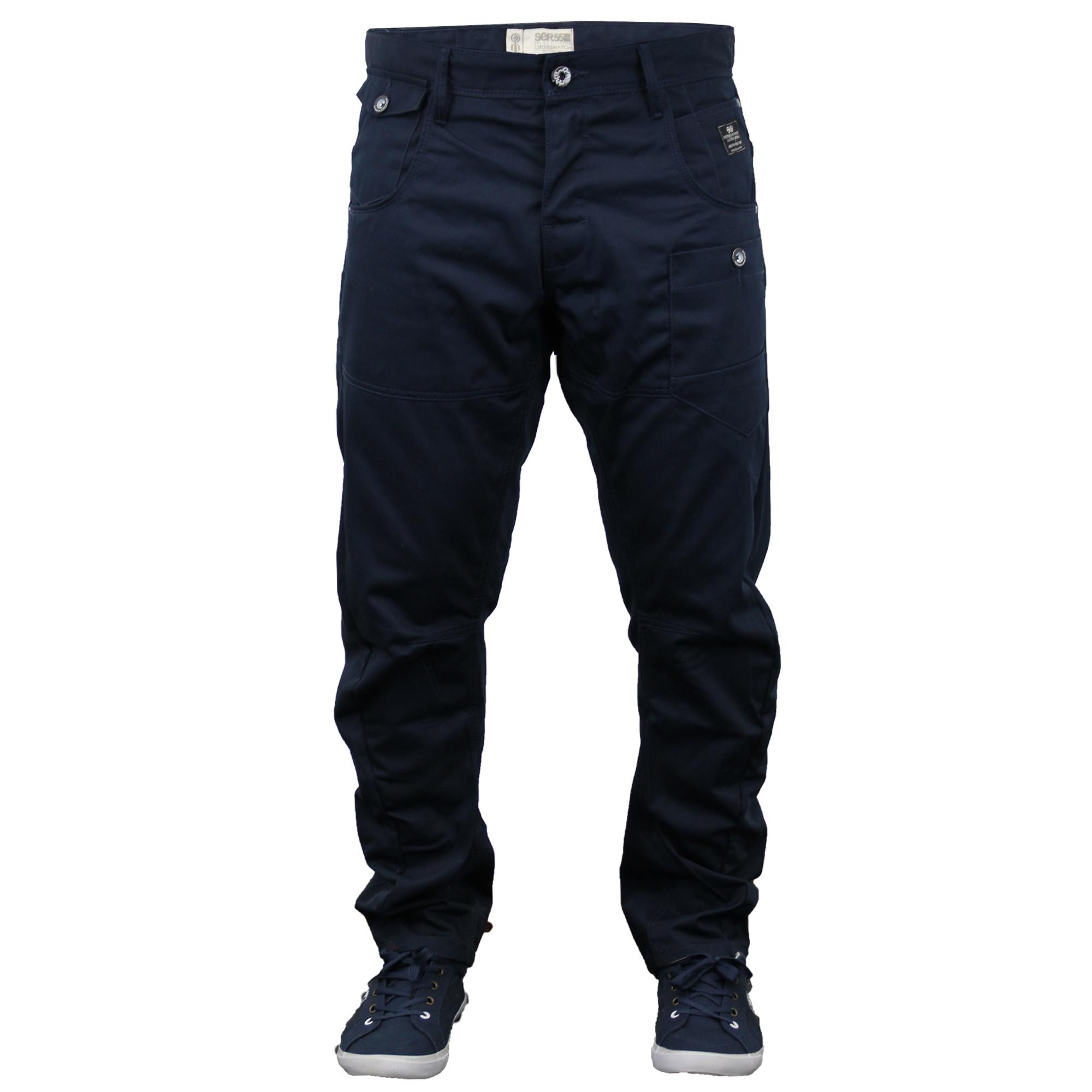 Crosshatch da Uomo Designer TWISTED LEG Regular Fit Tapered Pantaloni Chino Jeans NUOVO CON ETICHETTA