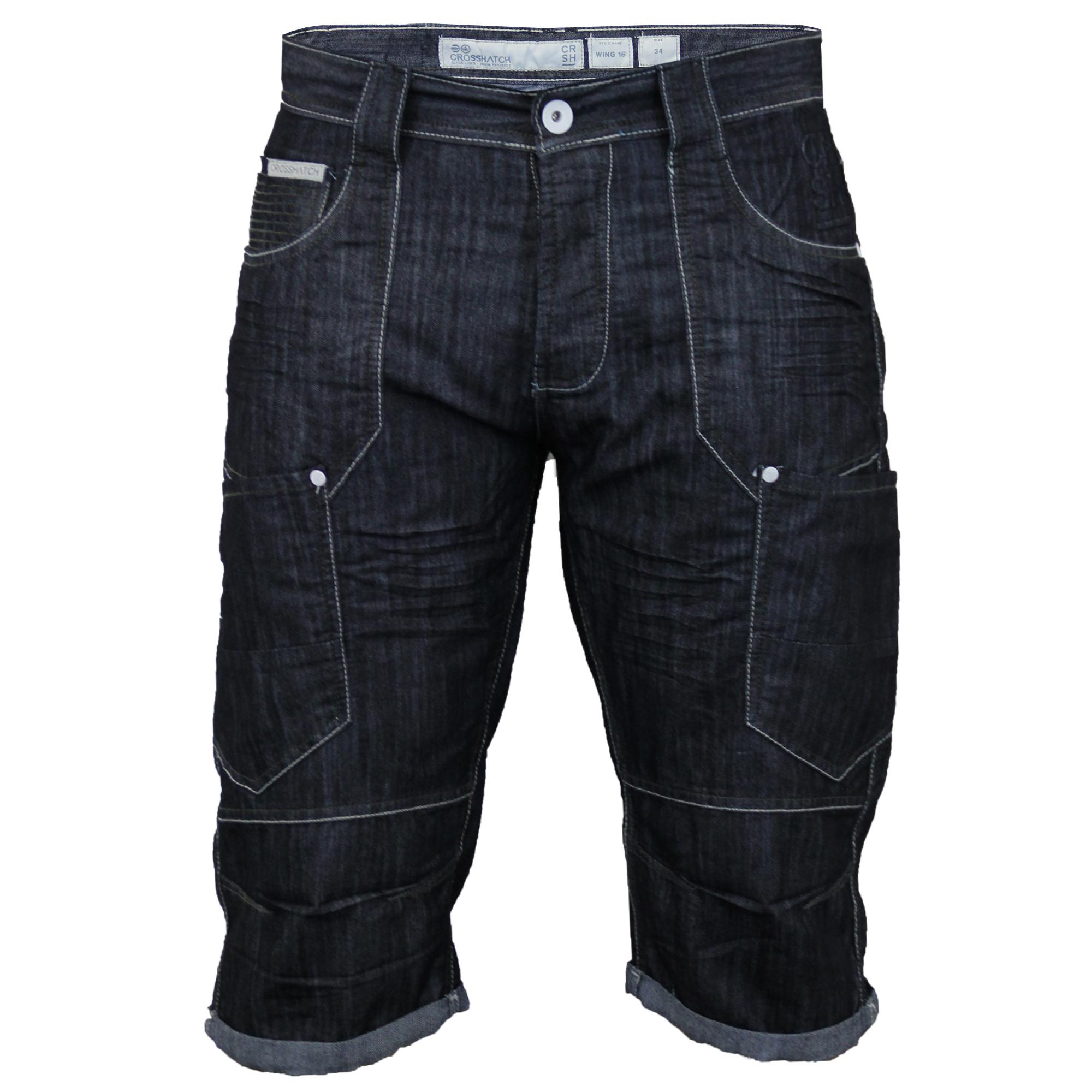 Mens-Crosshatch-Denim-Knee-Length-Combat-Shorts-Cargo-Casual-Fashion-Summer-New 縮圖 23