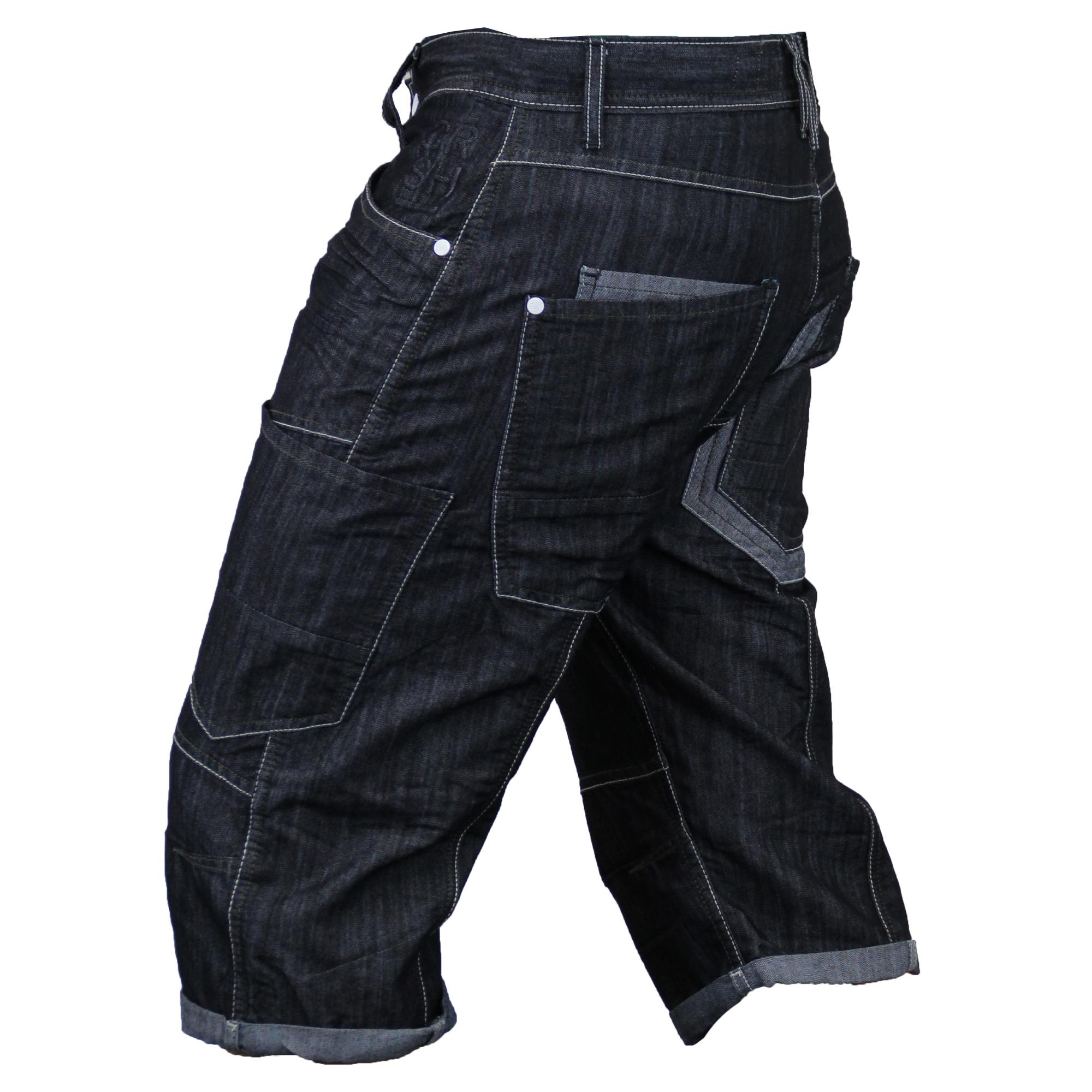 Mens-Crosshatch-Denim-Knee-Length-Combat-Shorts-Cargo-Casual-Fashion-Summer-New 縮圖 25