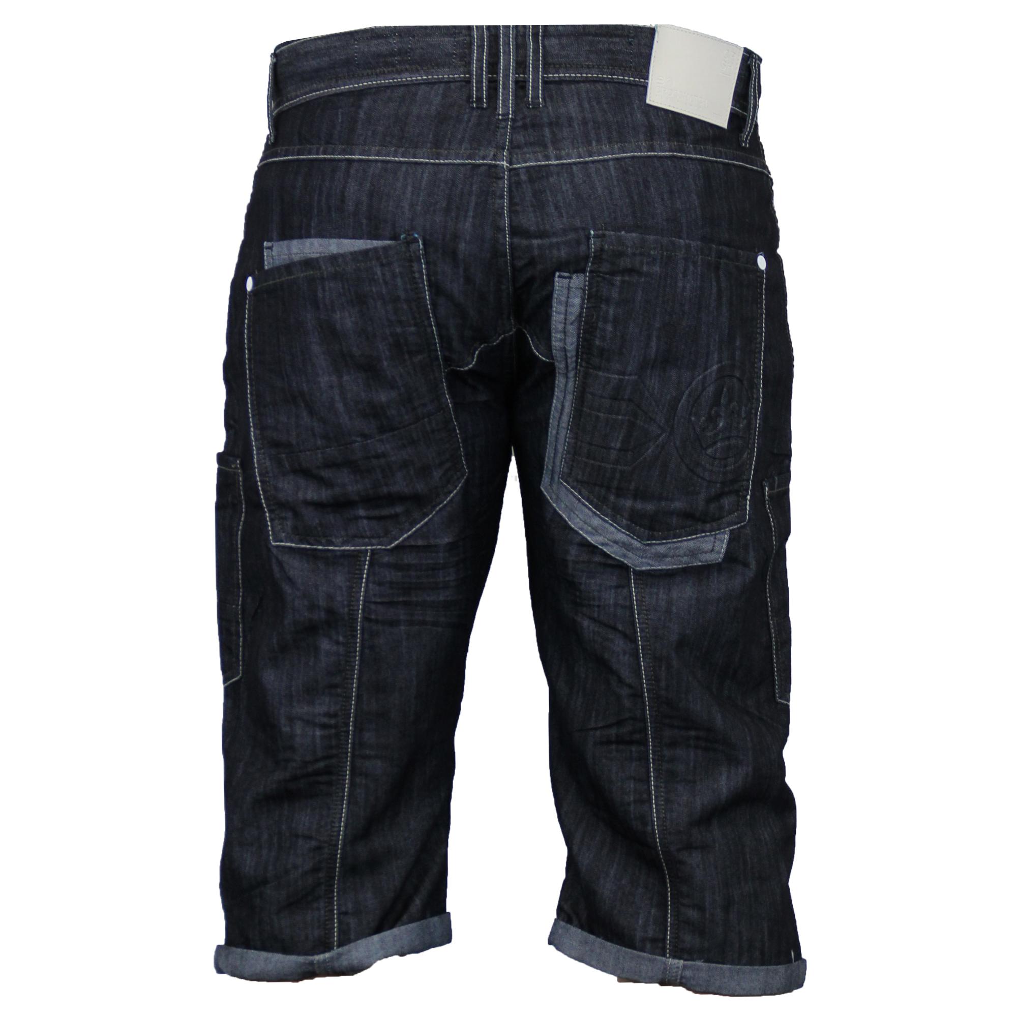 Mens-Crosshatch-Denim-Knee-Length-Combat-Shorts-Cargo-Casual-Fashion-Summer-New 縮圖 26