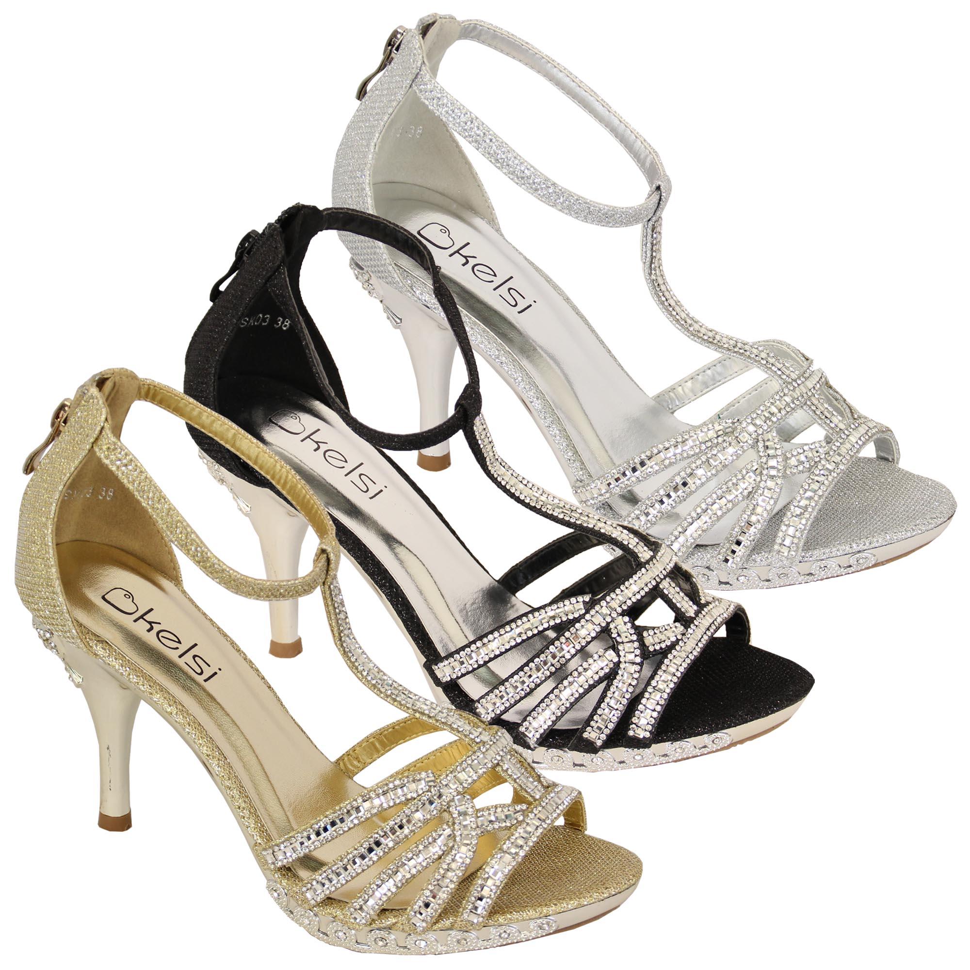 5b51107676768c Details about ladies diamante high pencil heel sandals by Kelsi Shoes