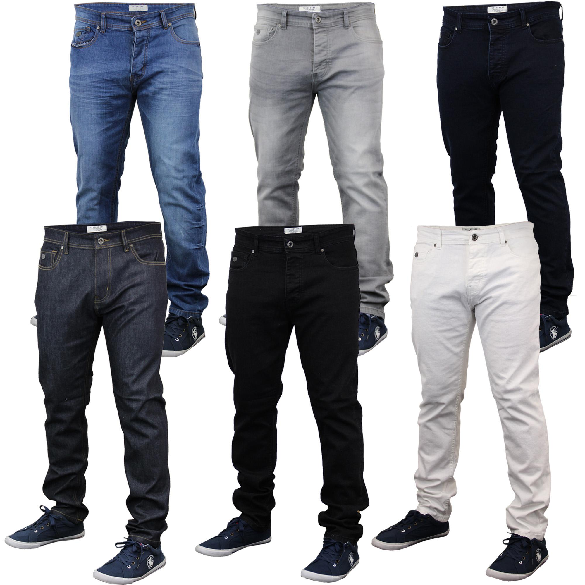 Highness Pantalon Jeans pour Hommes Ample Coupe Droite Men/'s Wear Patchs Mega