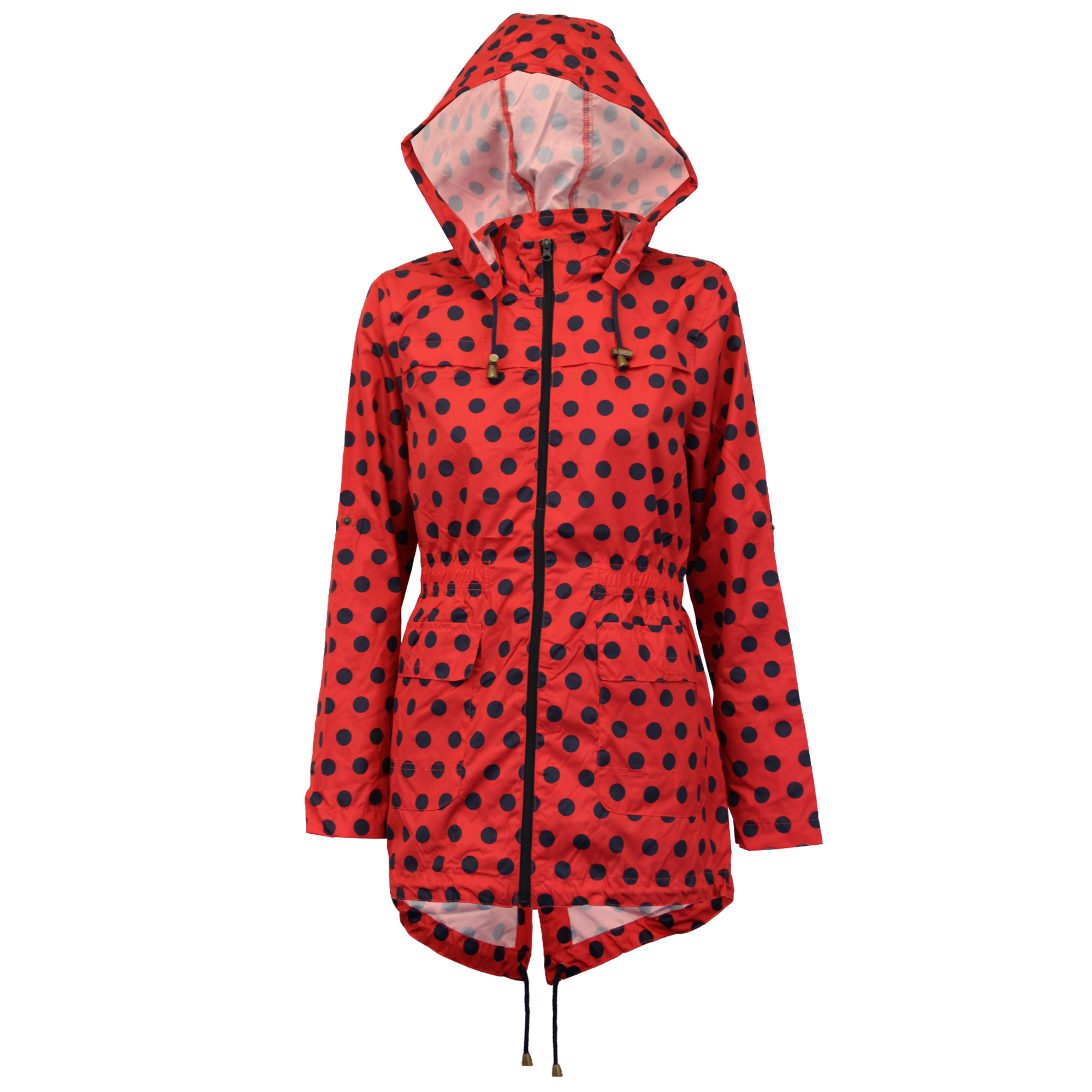 ladies womens kagool fish tail hooded polka dot jacket by Brave Soul
