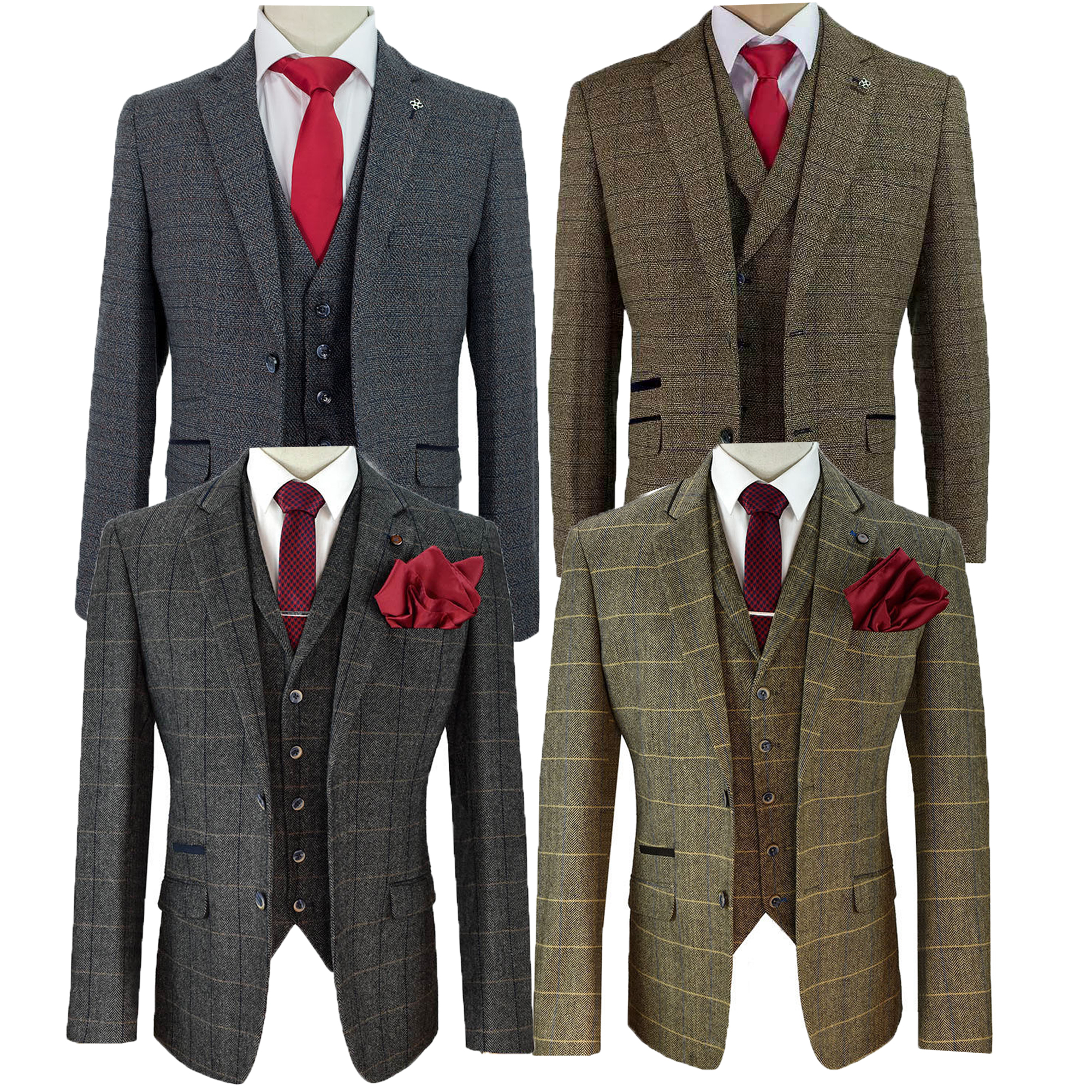 fd948d7b24 Mens Wool Mix Tweed Checked Blazers Waistcoats Trouser 3 Piece Suits ...