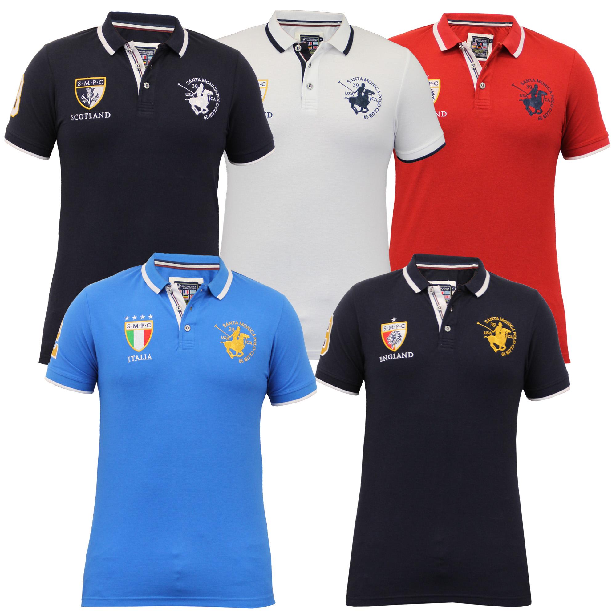 Mens Euro Football England Short Sleeved Pique Polo Shirts By Santa ... 1acec0f72faef