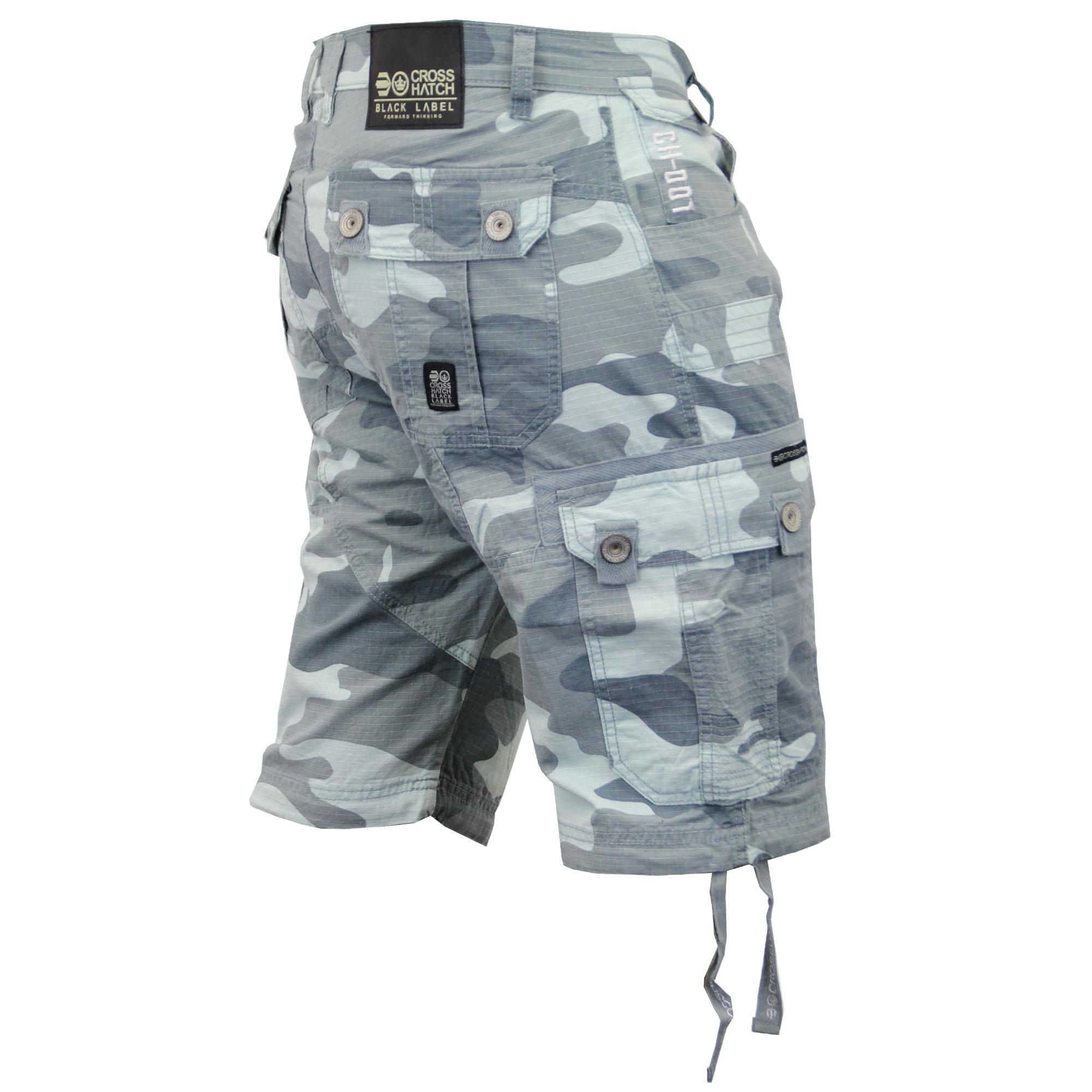 mens crosshatch camouflage shorts cargo combat belt knee. Black Bedroom Furniture Sets. Home Design Ideas