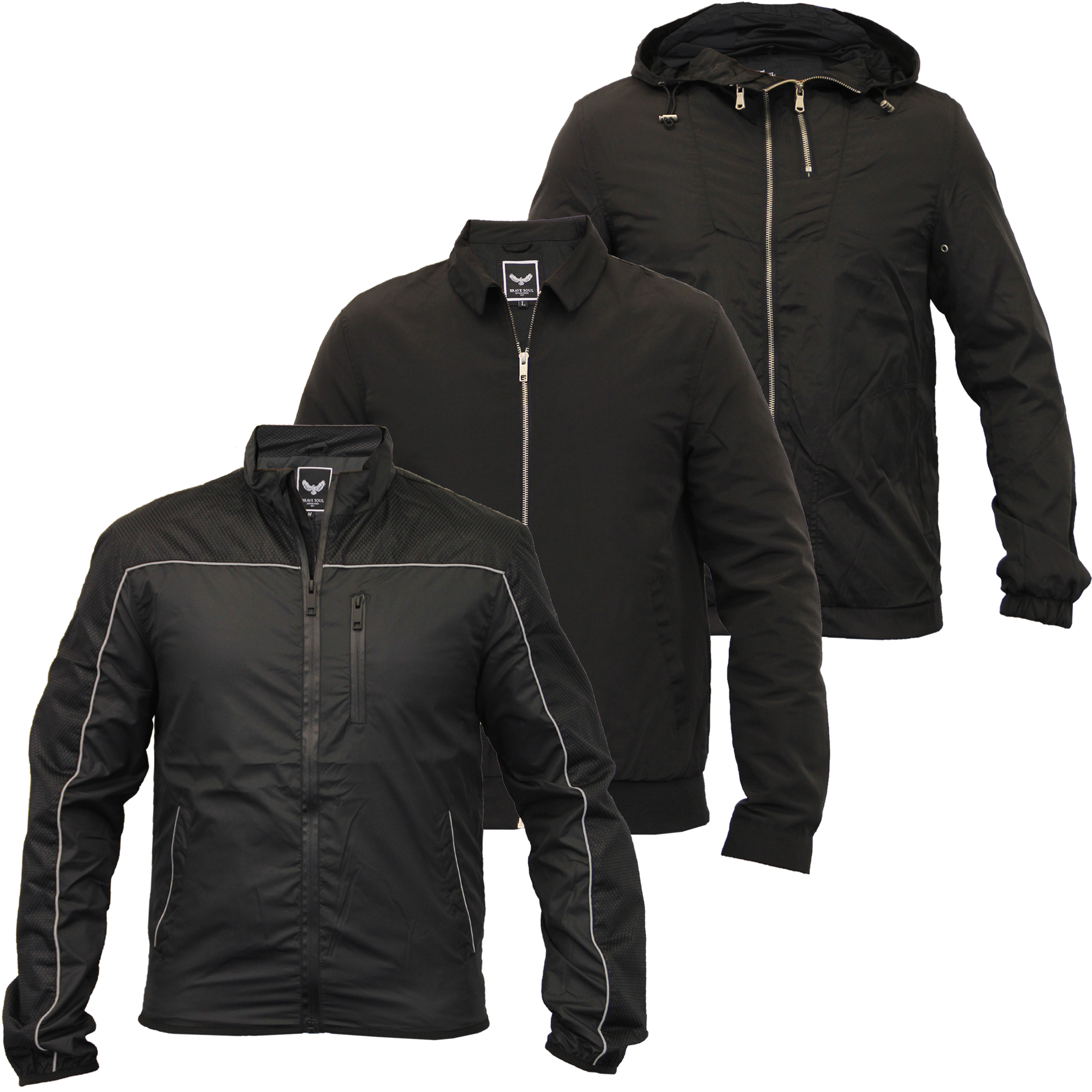 Mens-Windbreaker-Hooded-Jacket-Coat-By-Brave-Soul-Mesh-Lined thumbnail 4