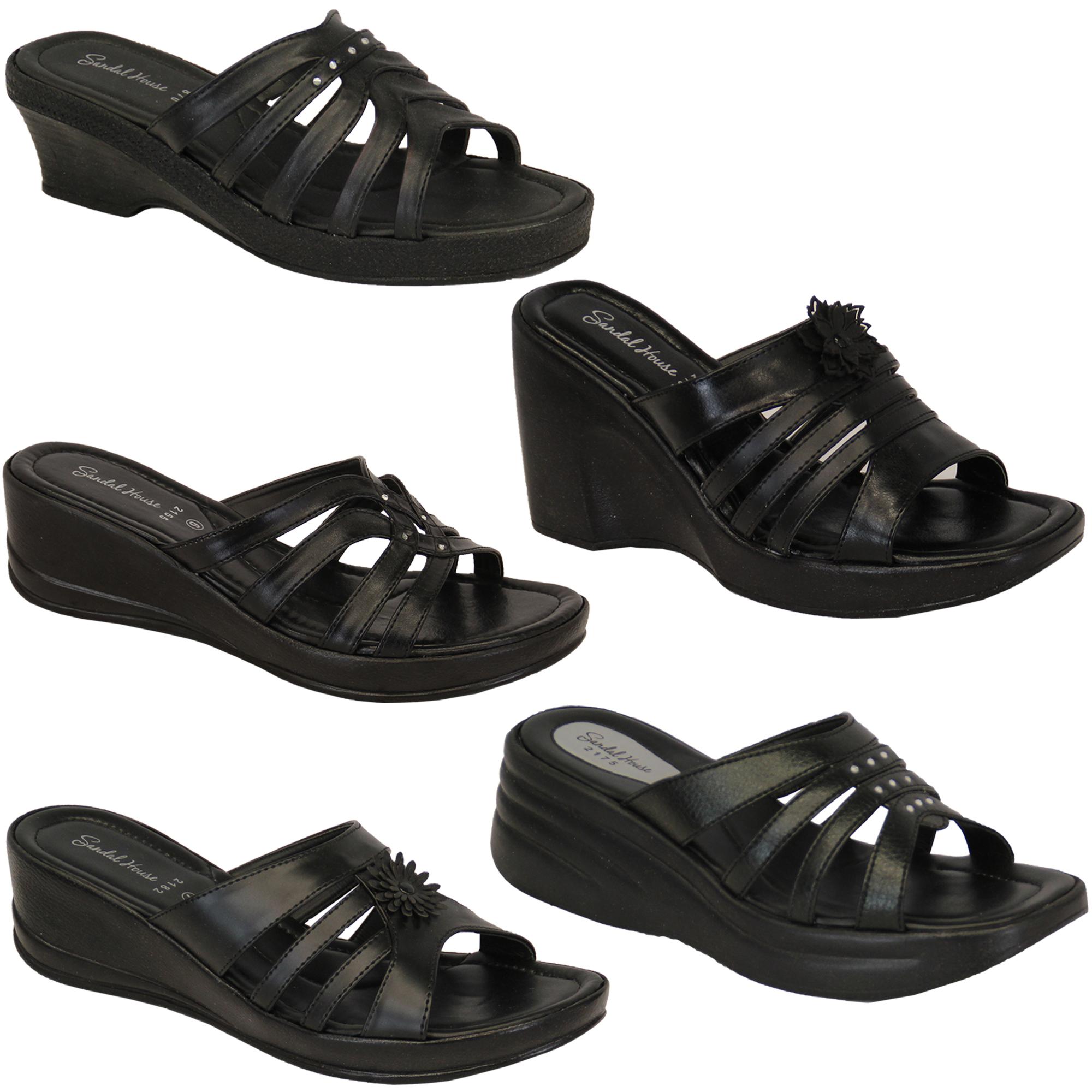 damen ohne b gel offene zehen keilabsatz slipper schuhe von sandal house ebay. Black Bedroom Furniture Sets. Home Design Ideas