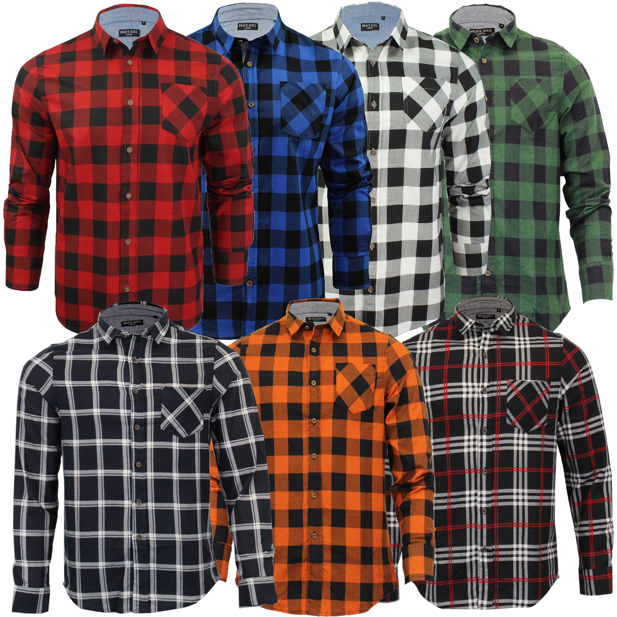 Mens-Checked-Tartan-Long-Sleeved-Collared-Shirt-By-Brave-Soul miniatuur 4