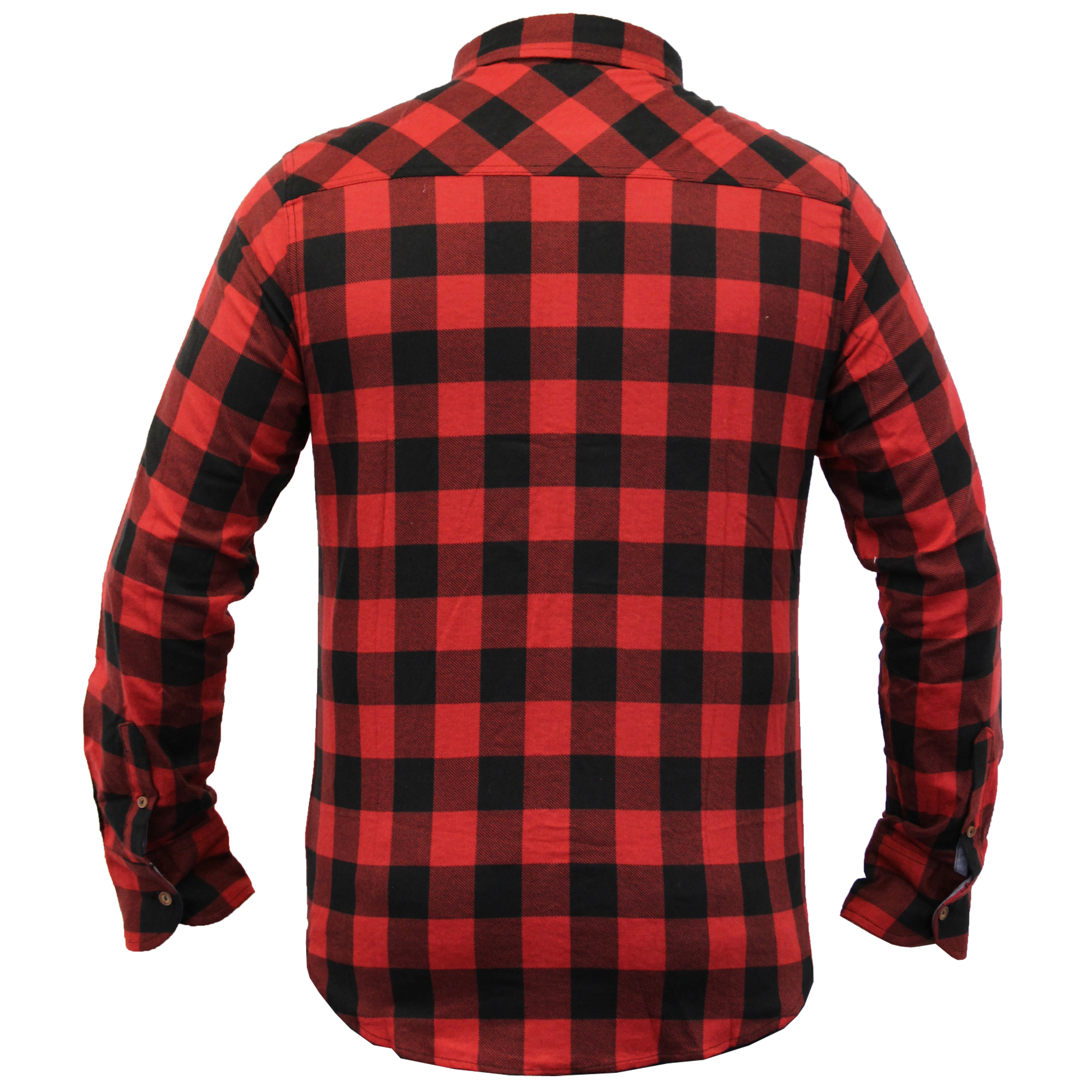 Mens-Checked-Tartan-Long-Sleeved-Collared-Shirt-By-Brave-Soul miniatuur 9