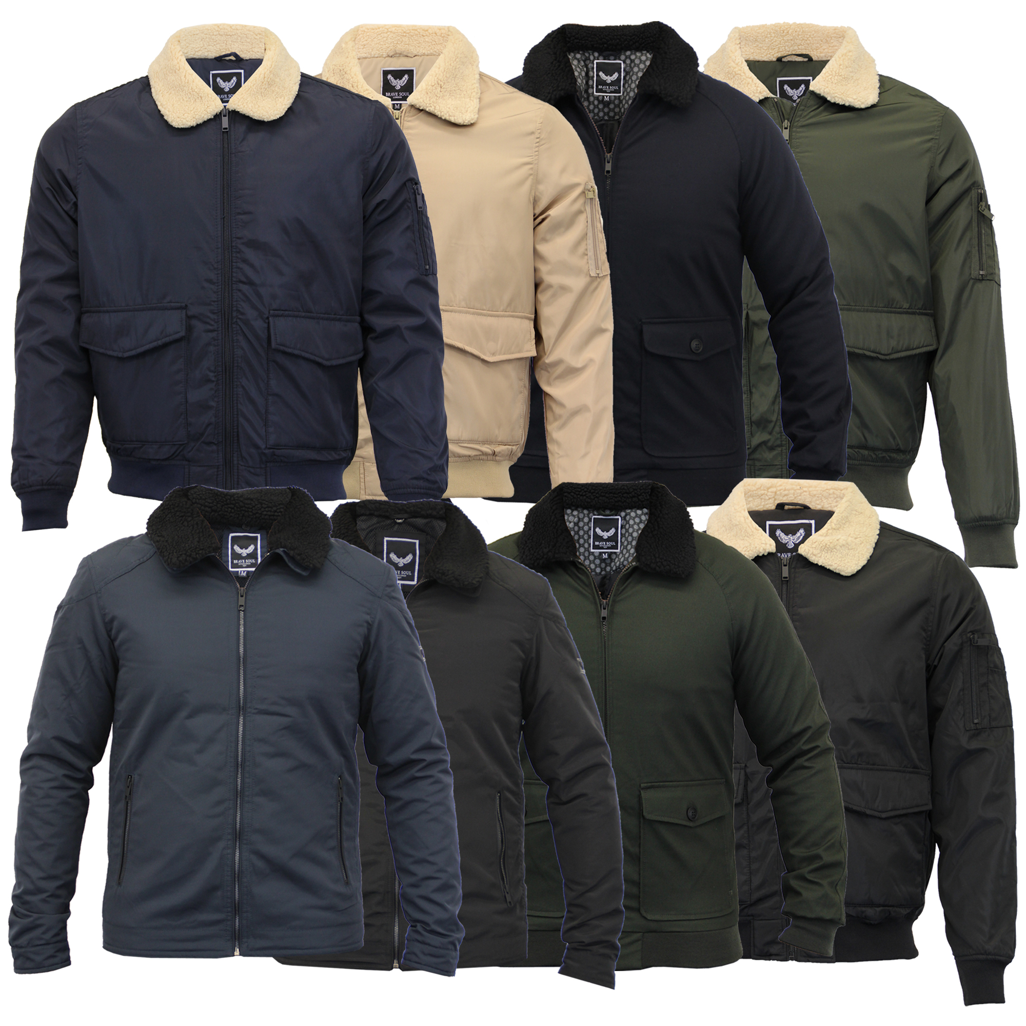 76e3cca4a Details about Mens Flying Jacket Brave Soul Coat Sherpa Fleece Collar  Padded Bomber Winter New