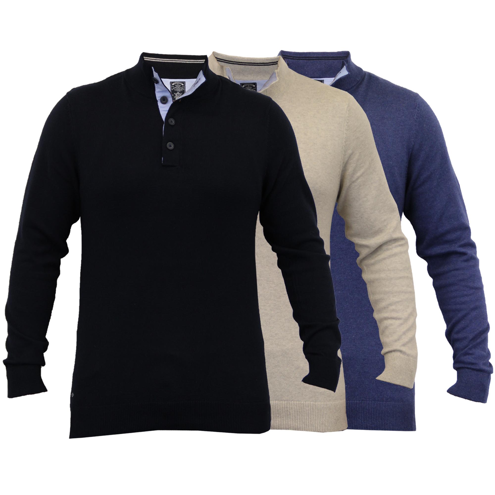Mens Knitted Jumper Kensington Eastside Pullover Sweater Top Funnel Neck Winter