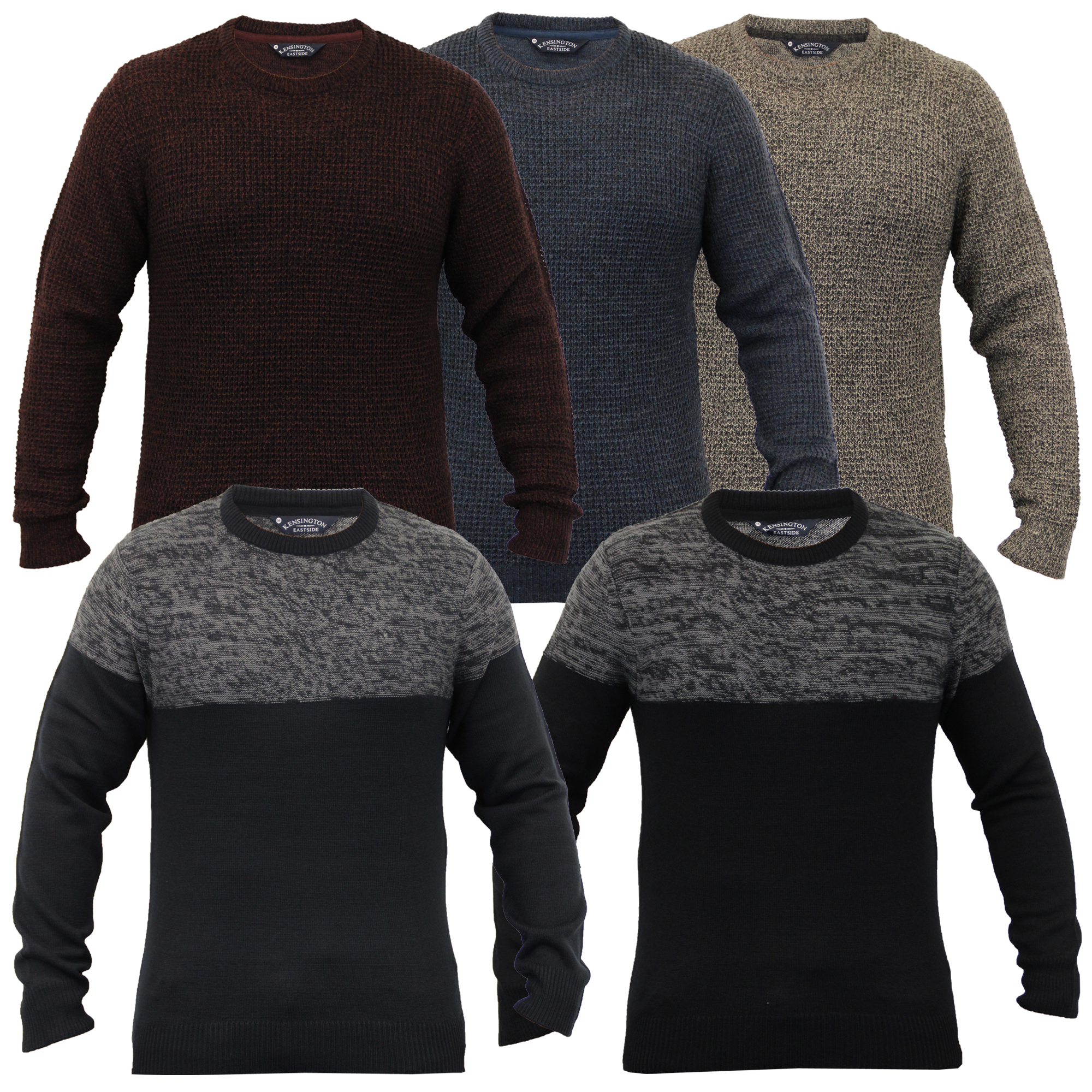 Details about Mens Knitted Wool Blend Jumper Pullover Winter Sweater By Kensington Eastside